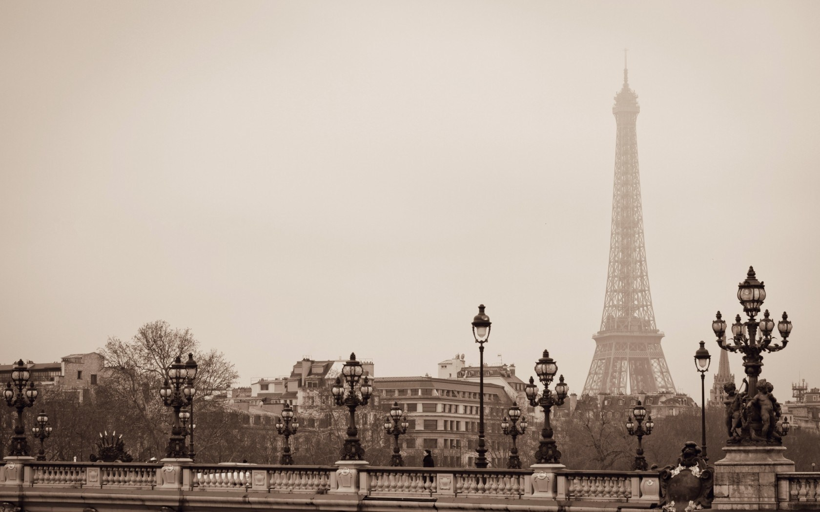 Eiffel Tower Paris France Greyscale Hd Wallpaper 1680x1050PX .