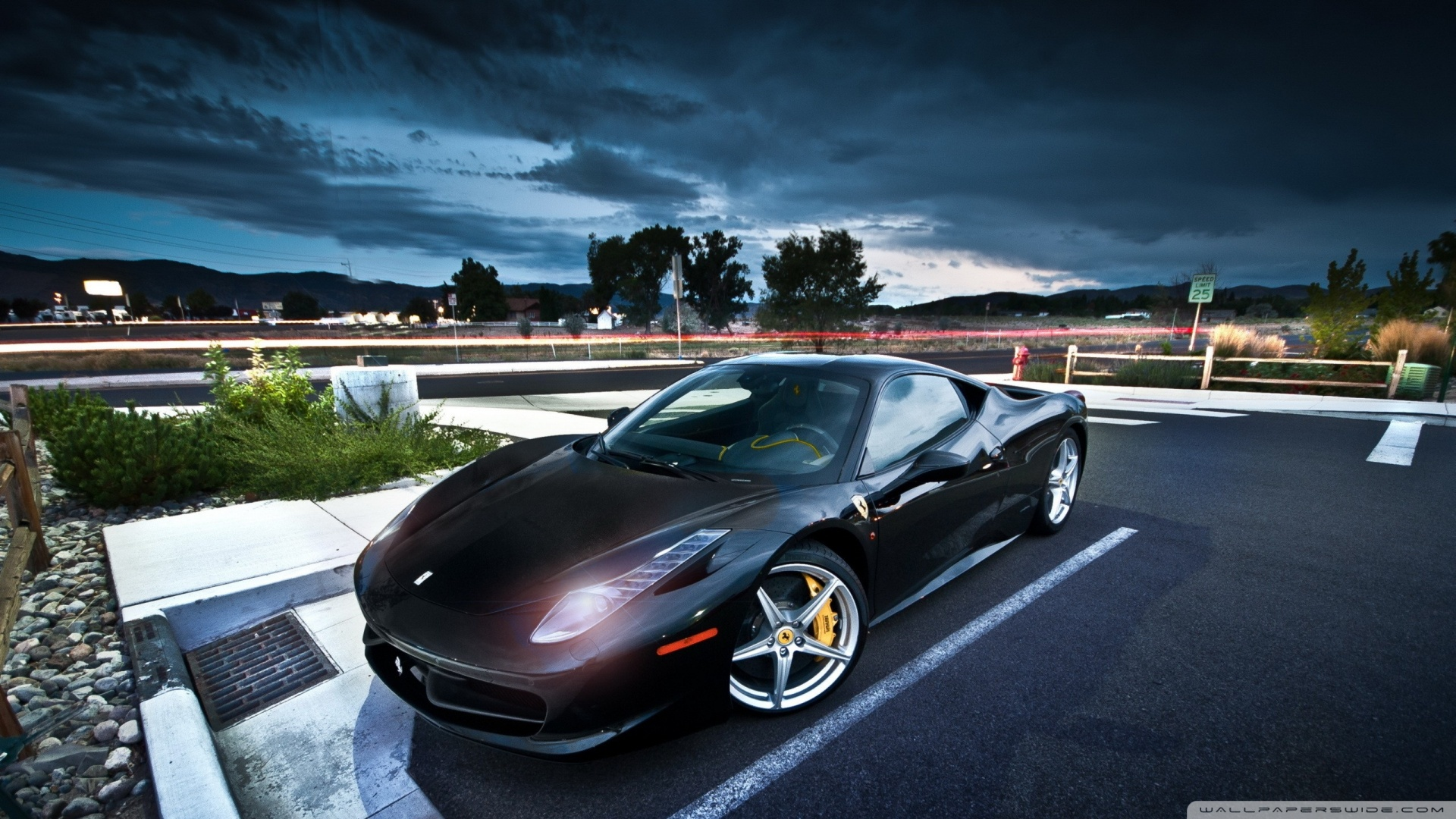 Black ferrari parked lights parking car 2560x1440