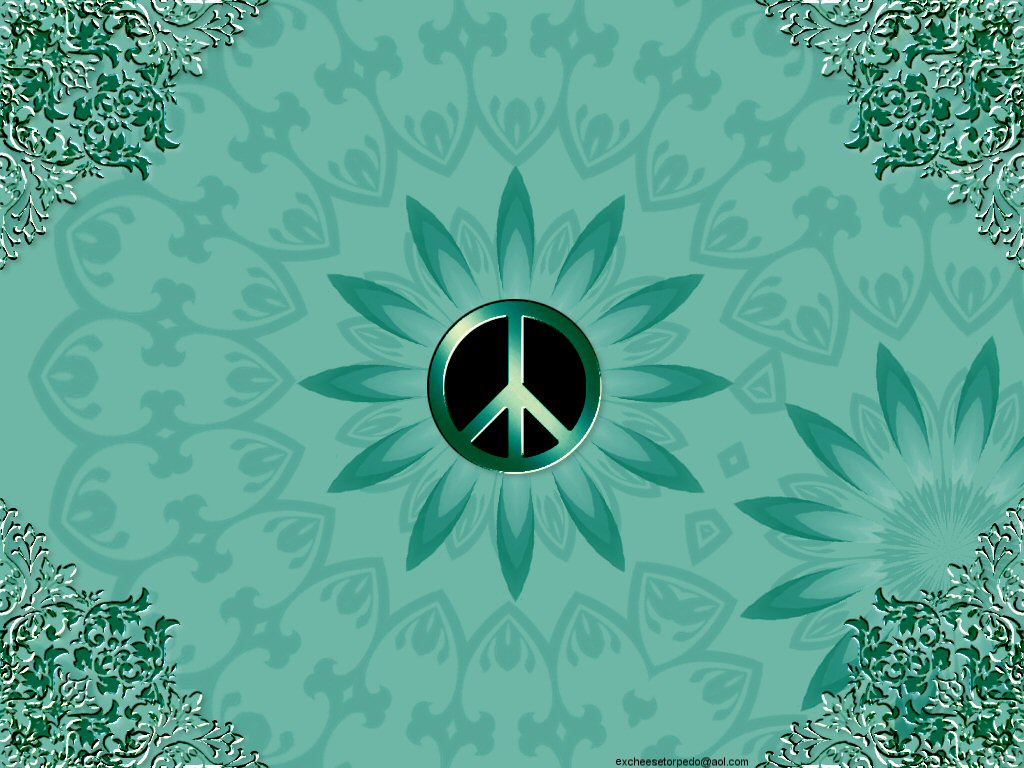 Peace Sign Wallpaper in Green Desktop Pc 1024x768px