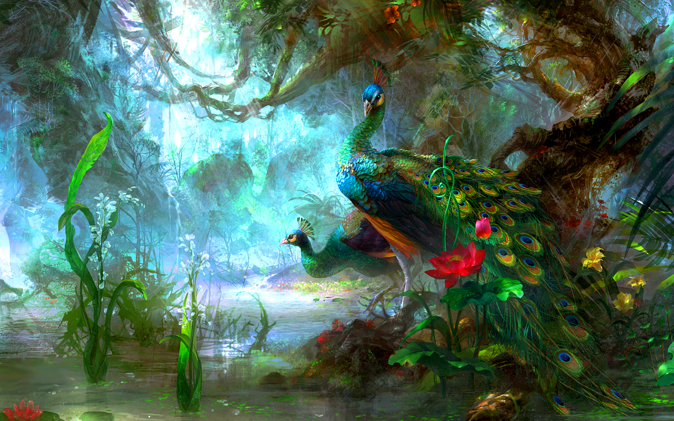 Hd Peacock Print Wallpaper 2560x1600px