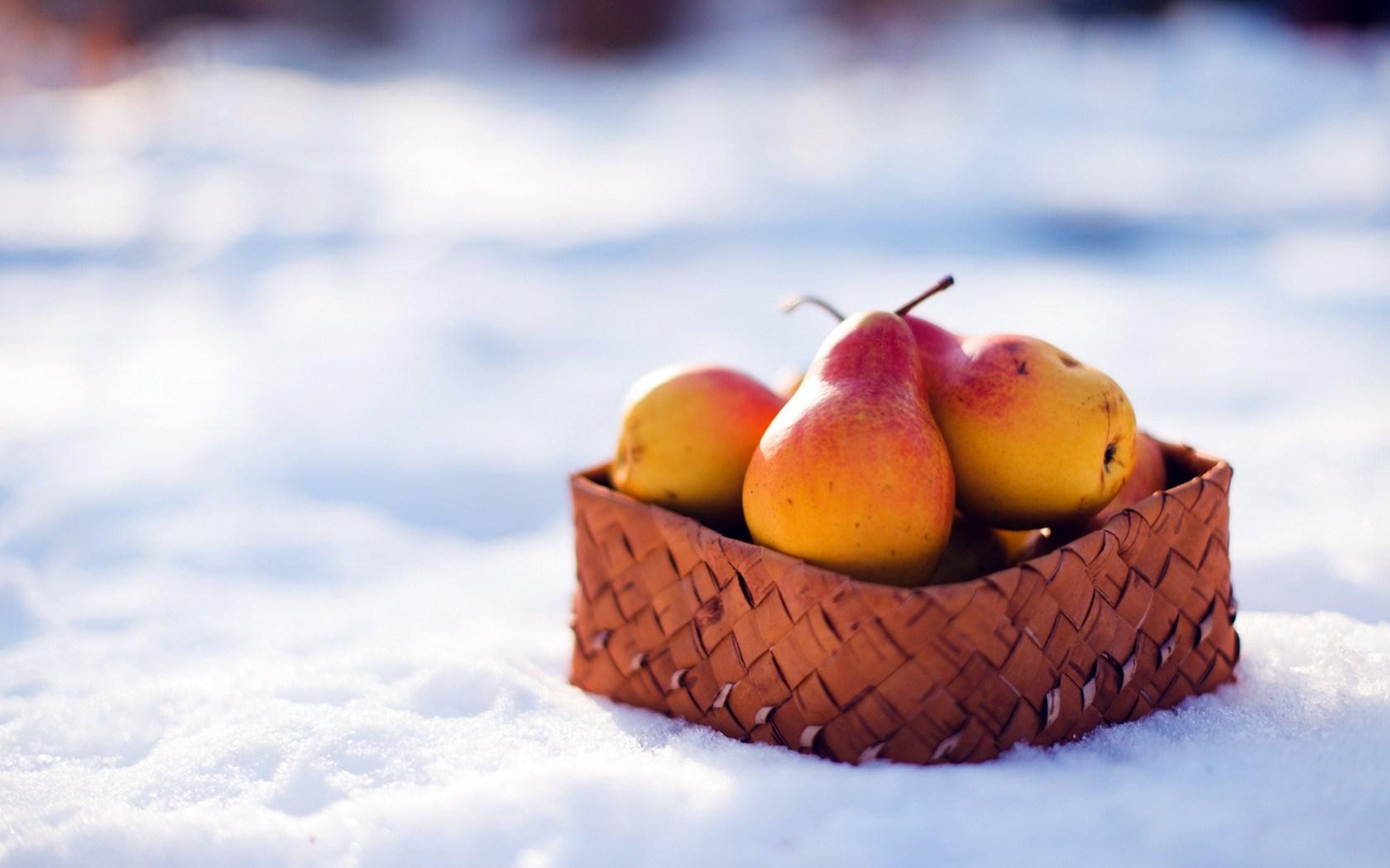 Pears Fruit Basket Winter Snow