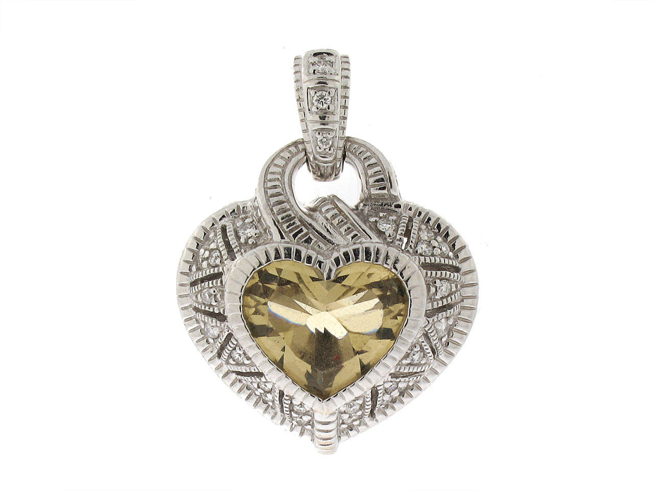 Judith Ripka Champagne Quartz Heart Pendant in 18K