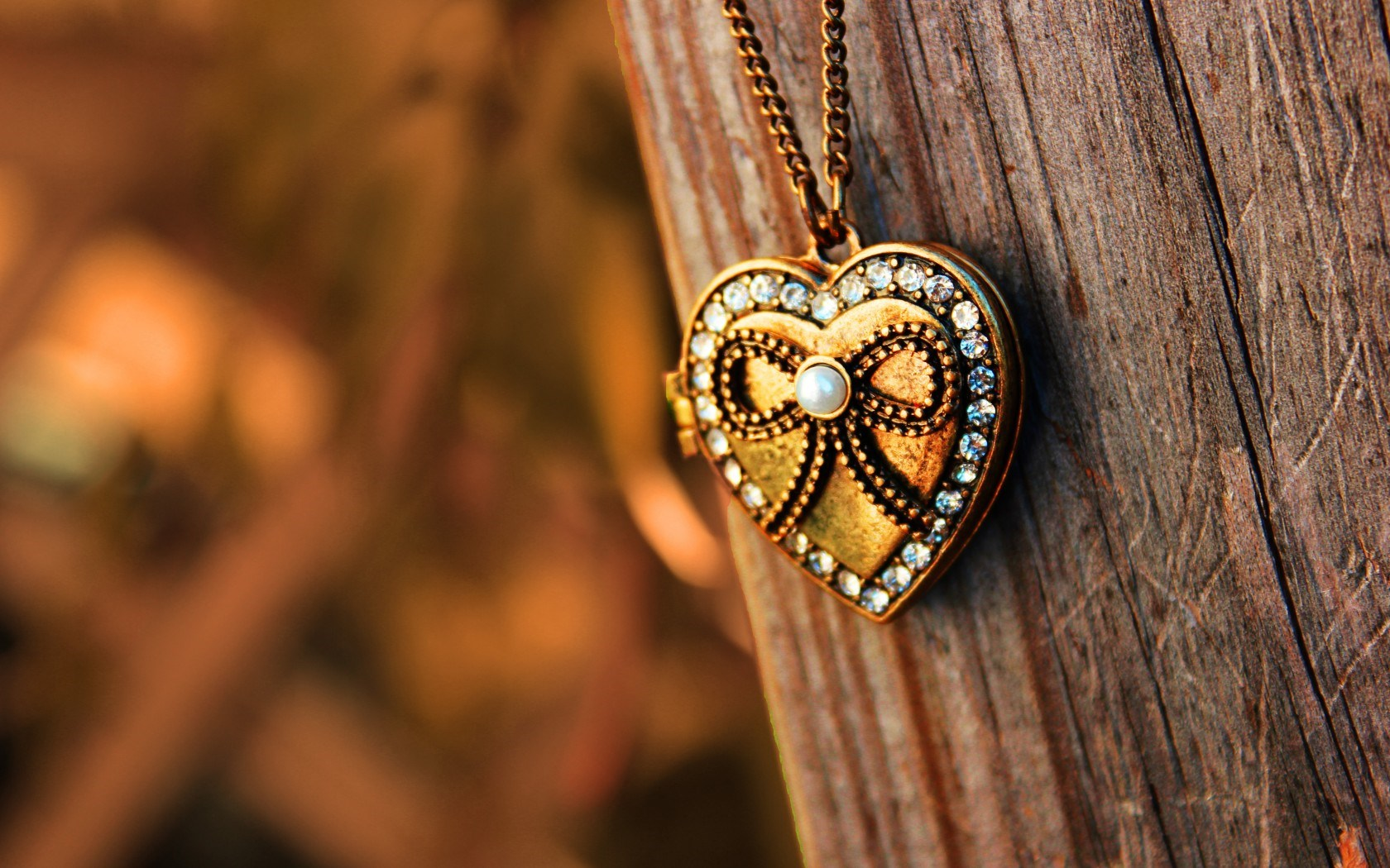 Pendant Heart Chain Wood