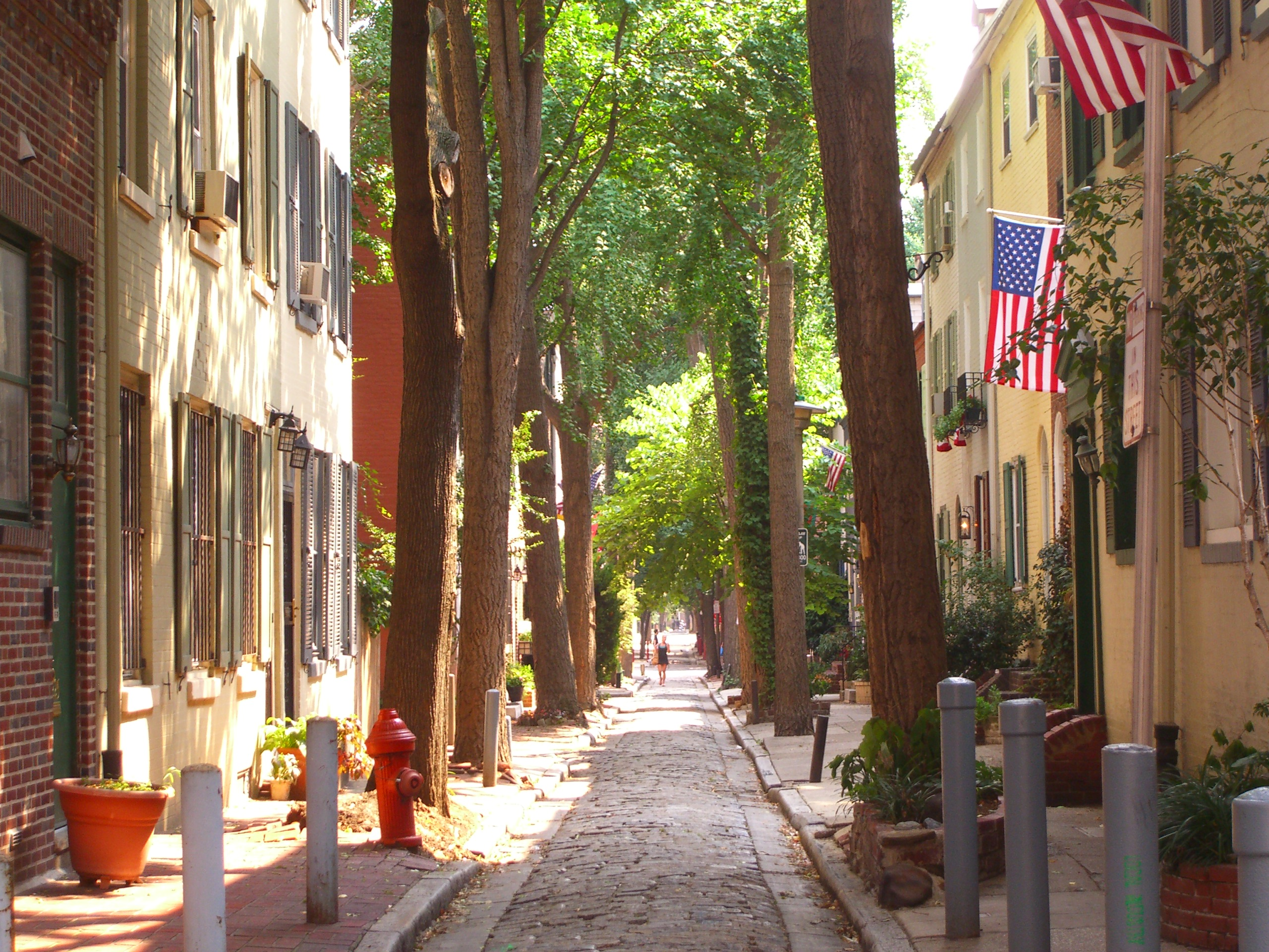 A view of Quince Street, a narrow cobblestone road as seen from Locust Street. While not inside the bounds of Old City (it is within the Washington Square ...