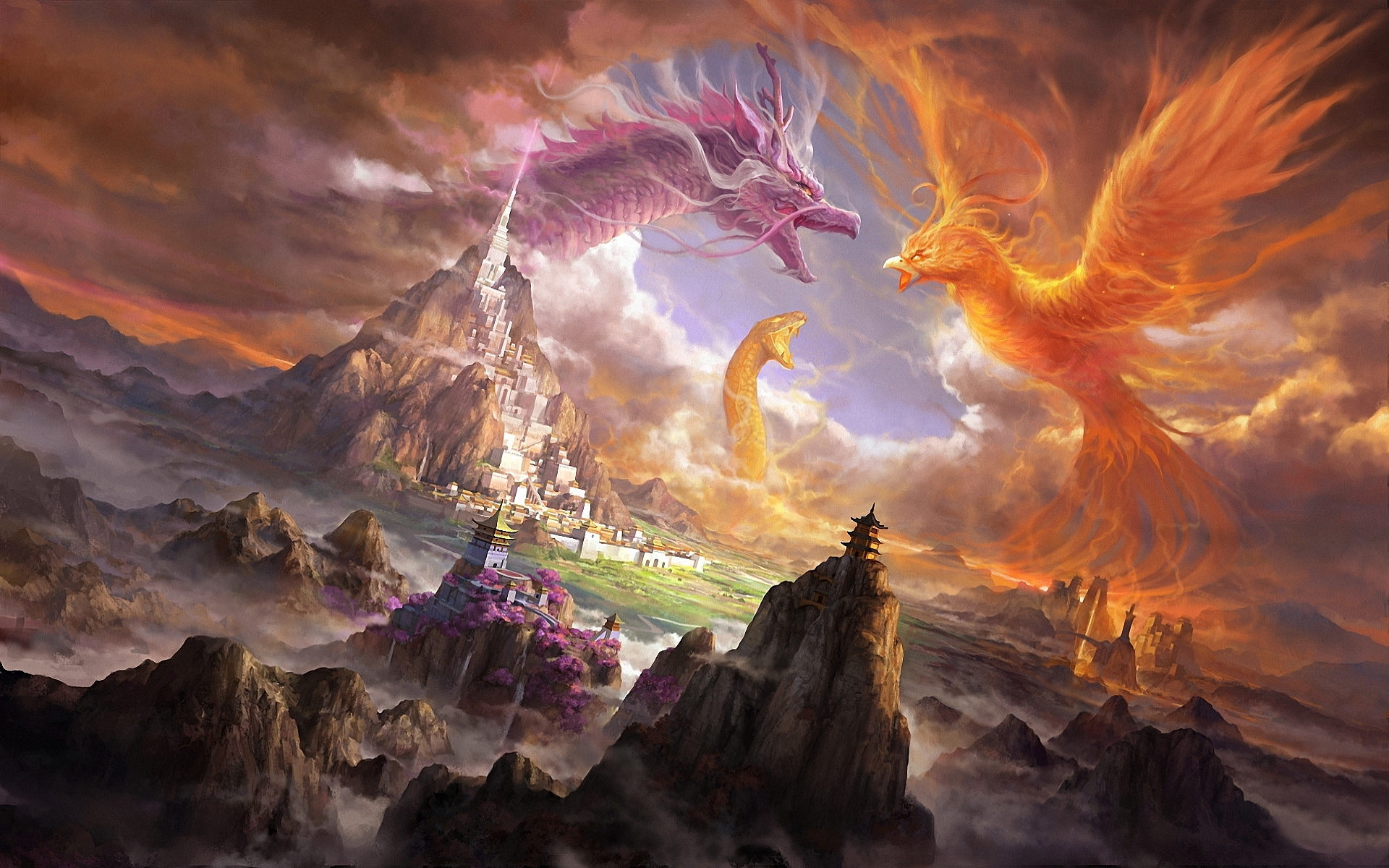 Phoenix dragon snake art