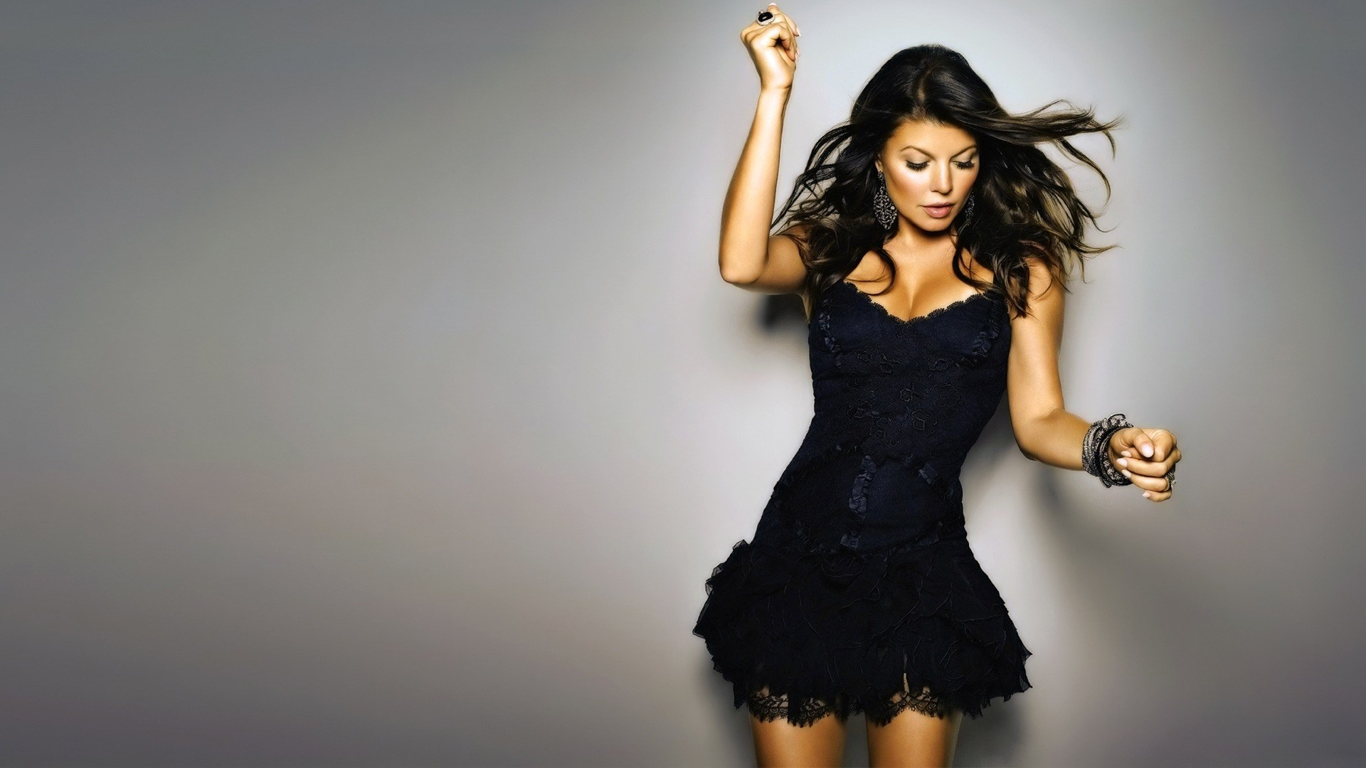 Brunette Girl Awesome Black Dress Fashion HD Wallpaper