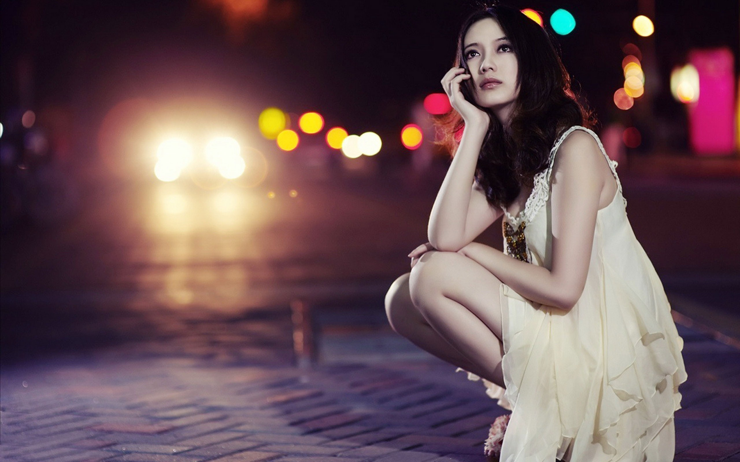 Photo City Night Lights Beauty Asian Girl