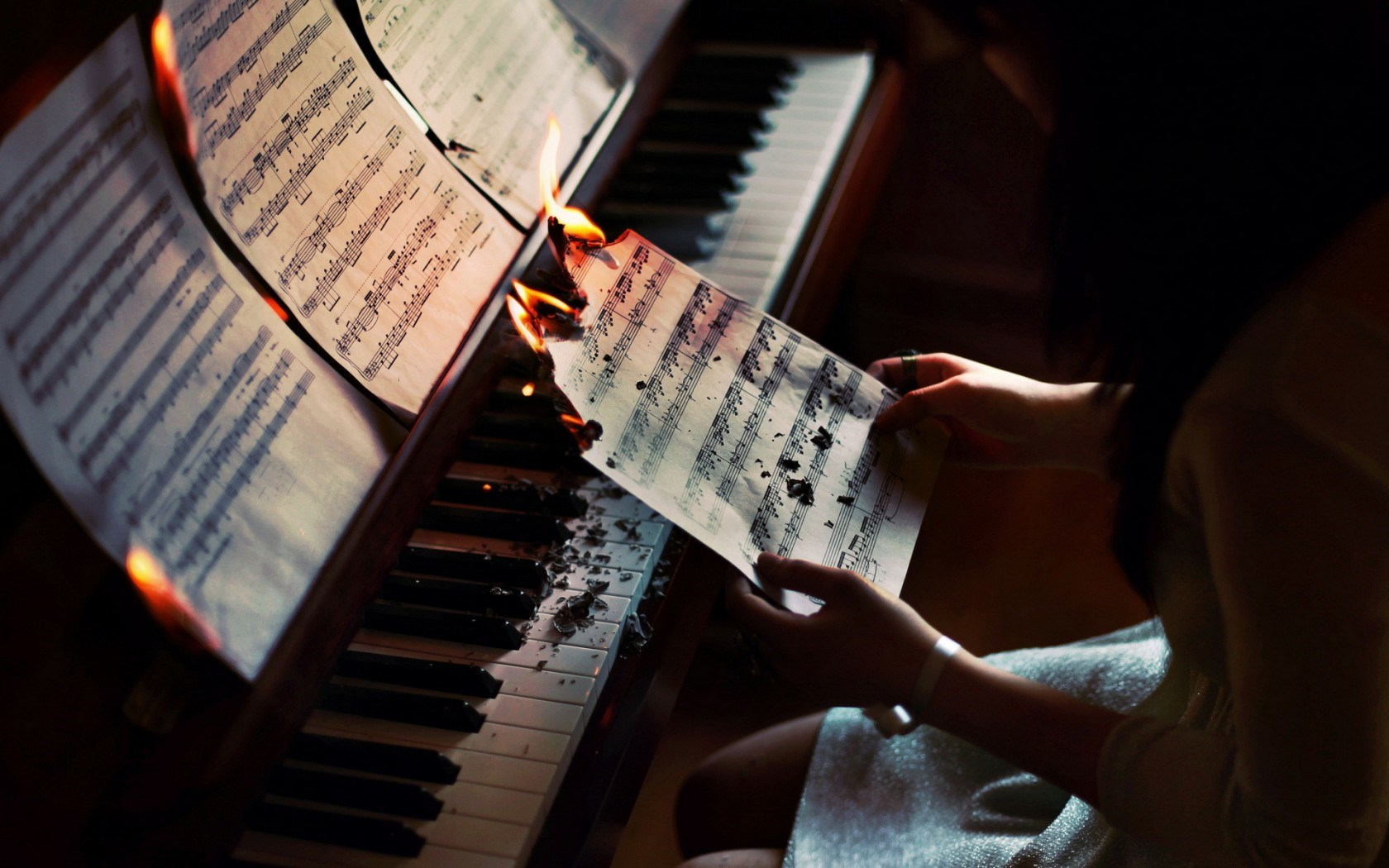 Piano Music Girl Situation Fire