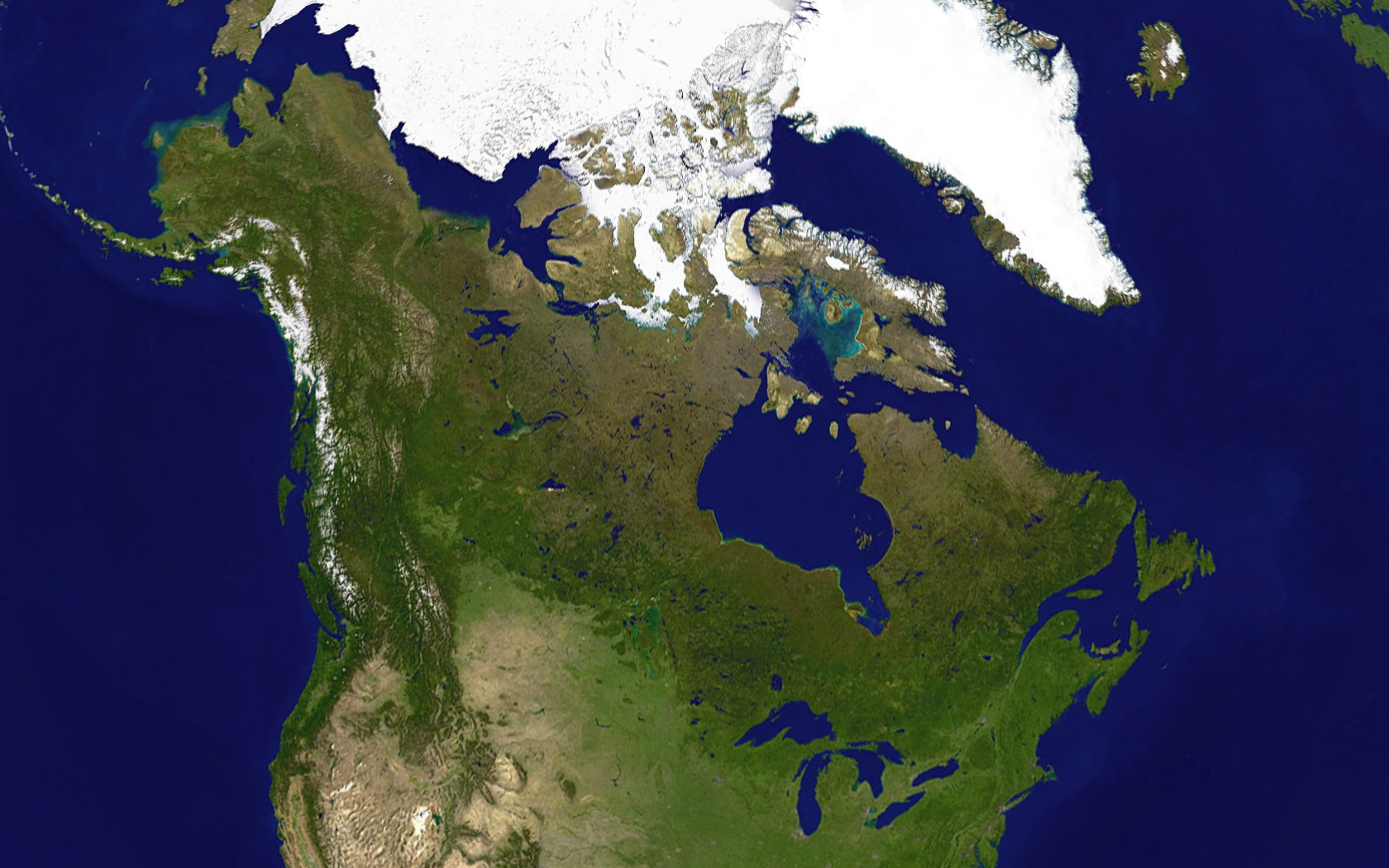A satellite composite image containing all of Canada and part of the United States. Boreal forests prevail on the rocky Canadian Shield, while ice and ...