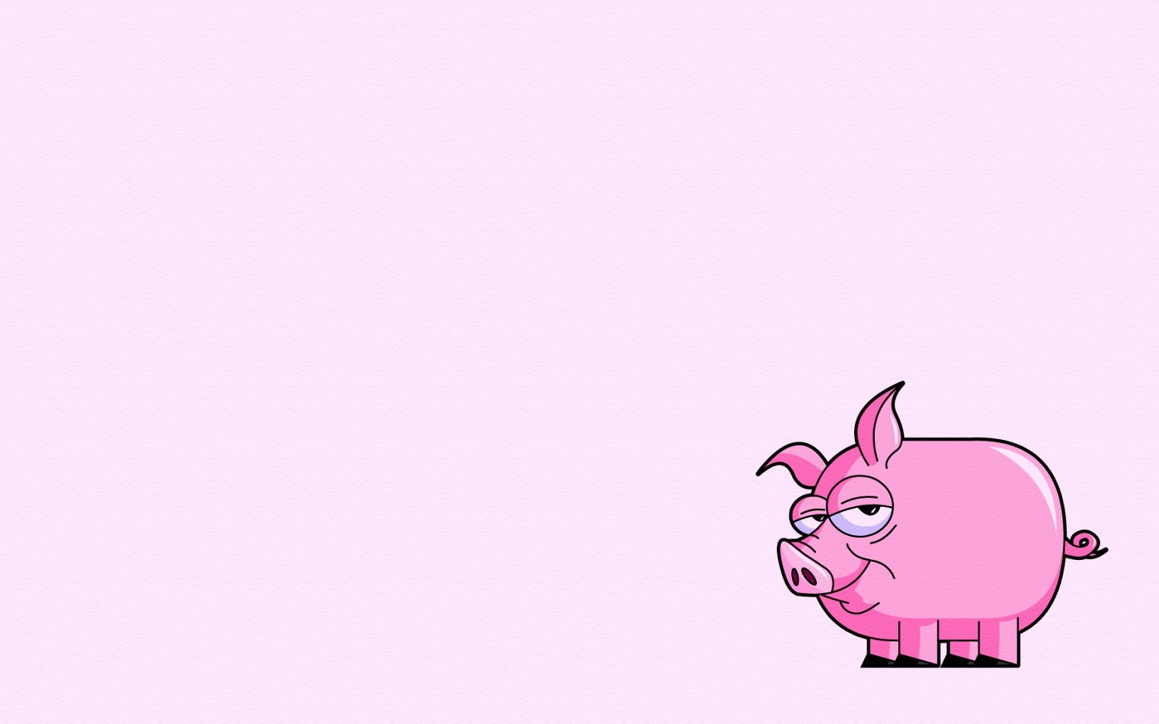 Pig Pink Minimalism Art Cartoon