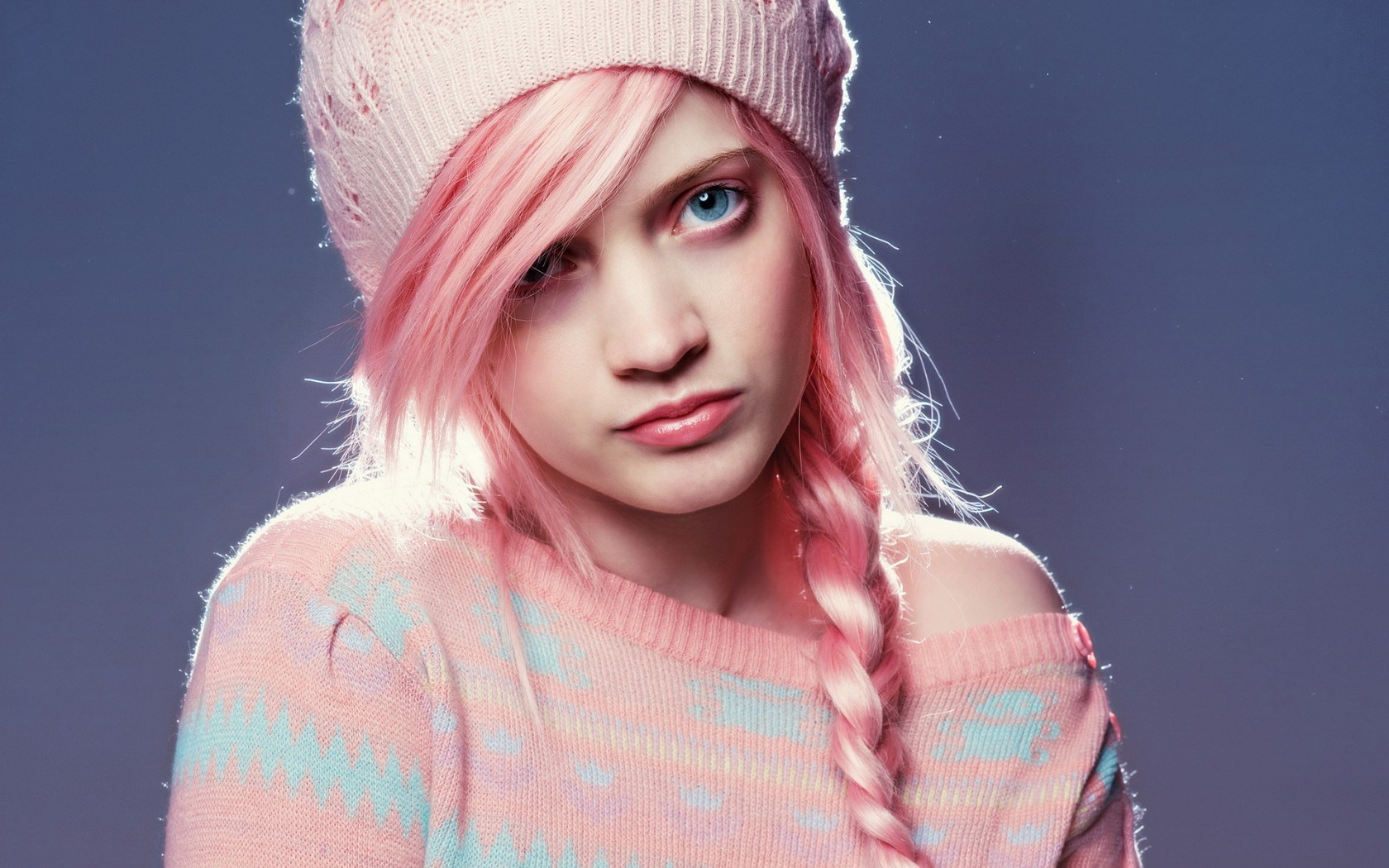 Pink Hair Beauty Model Fashion