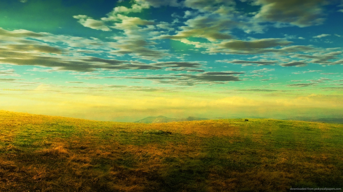 ... Colorful grass on high plains for 1366x768