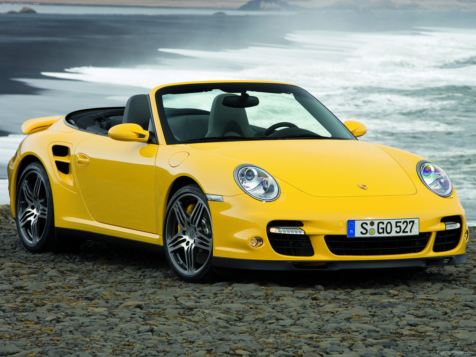 2008 Yellow Porsche 911 Turbo Cabriolet wallpapers