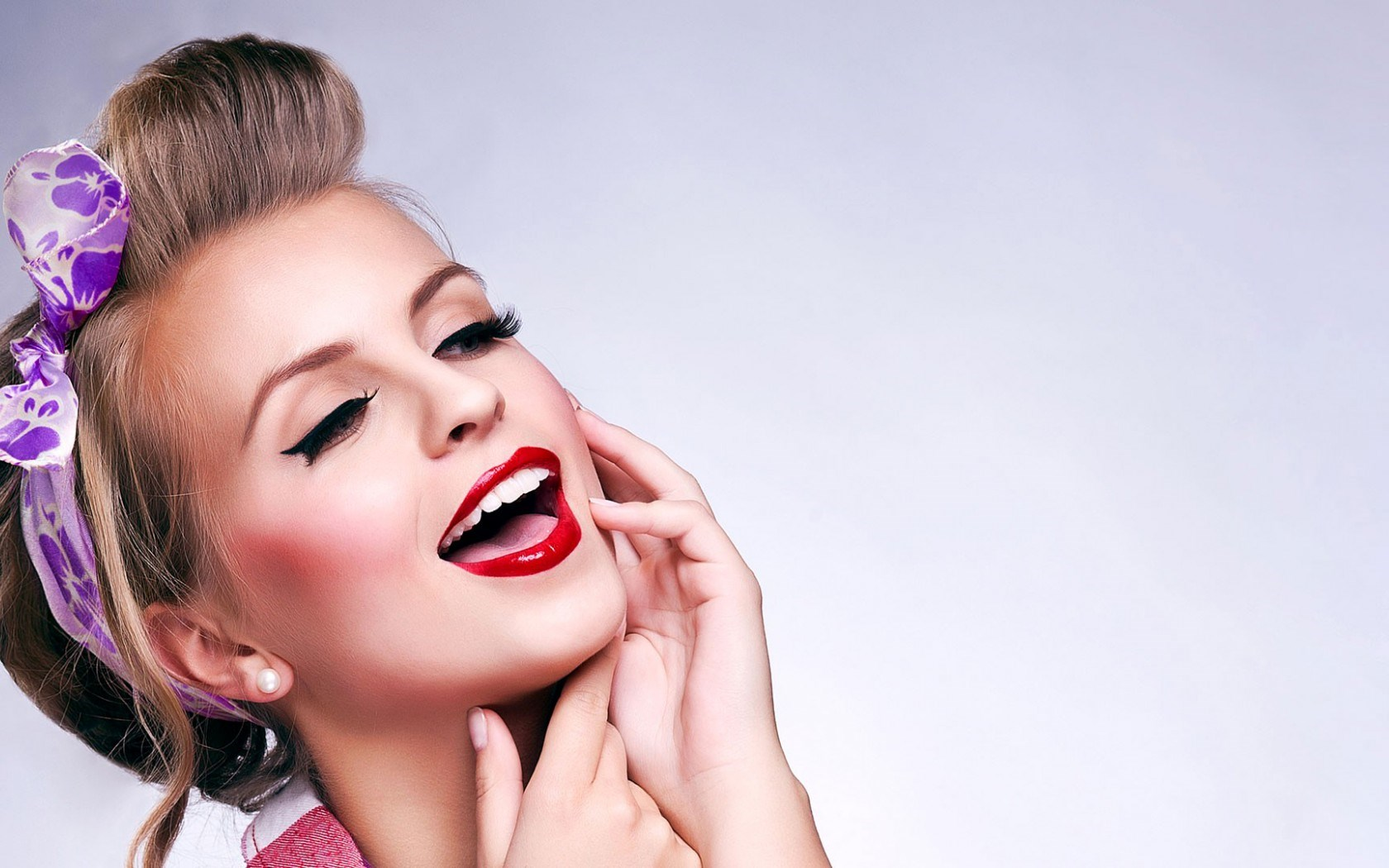 Portrait Beauty Girl Pink Lips Fashion Model