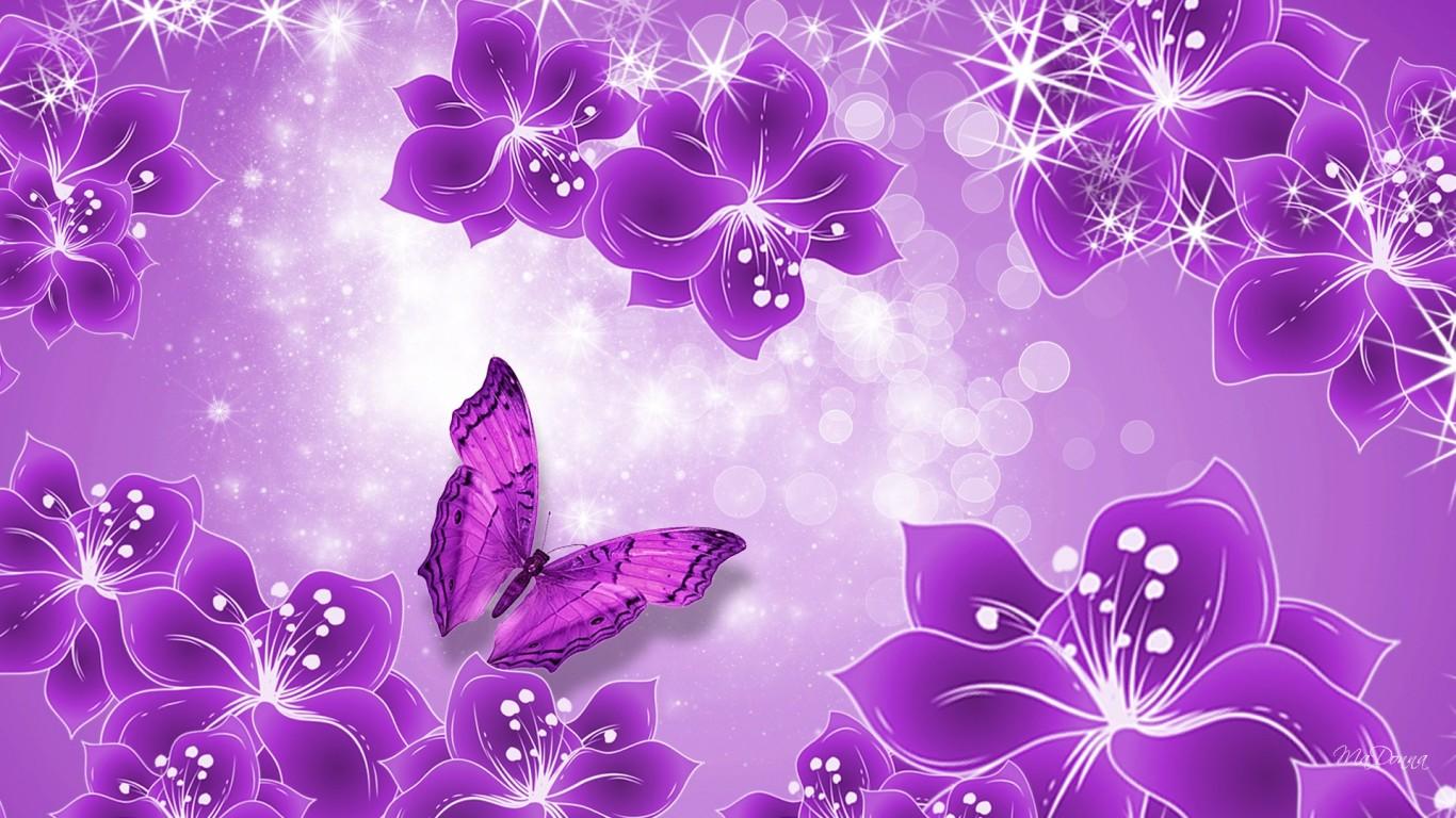 Purple Butterfly Wallpaper Desktop 1366x768px