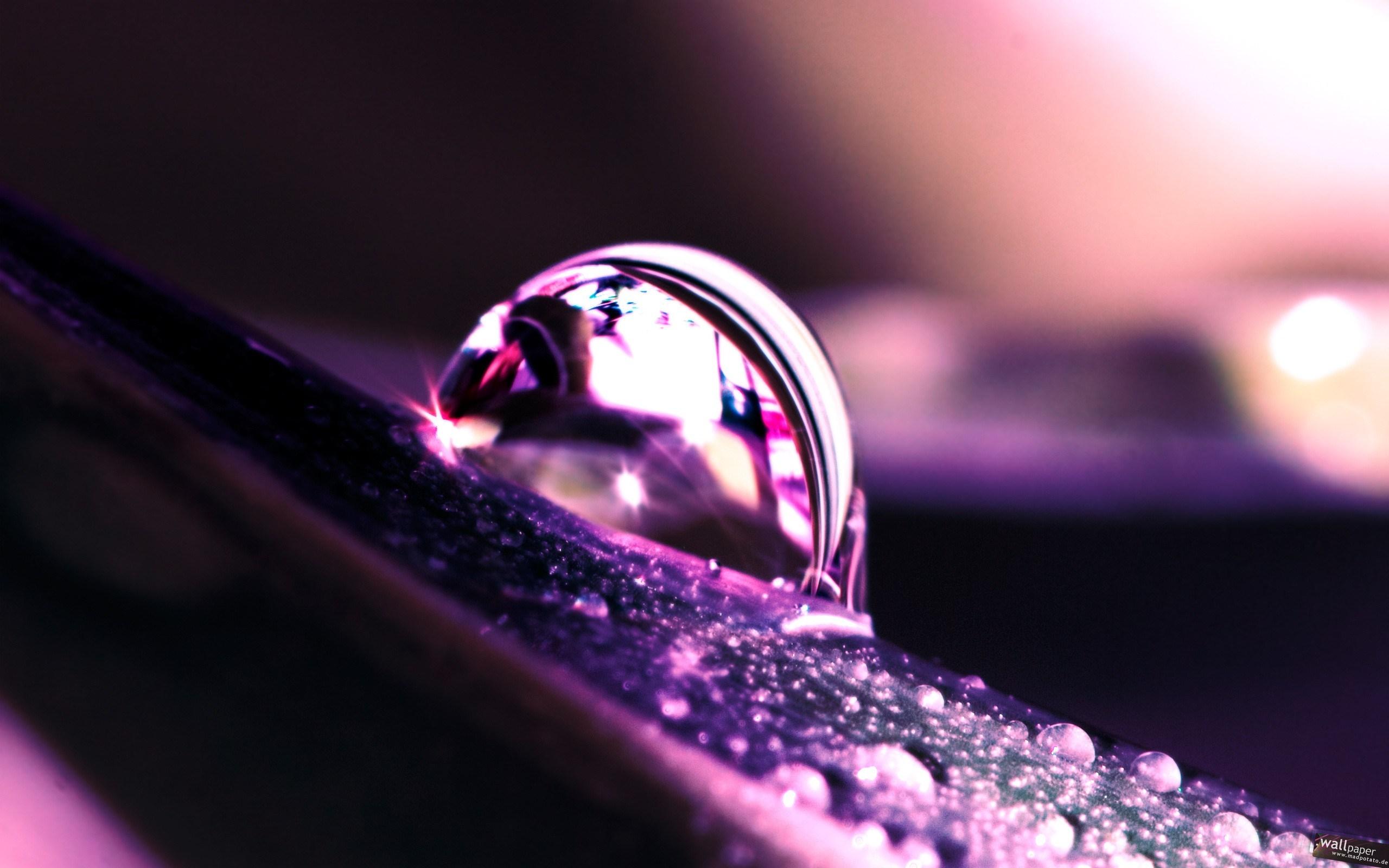 purple photo water drops light flare macro