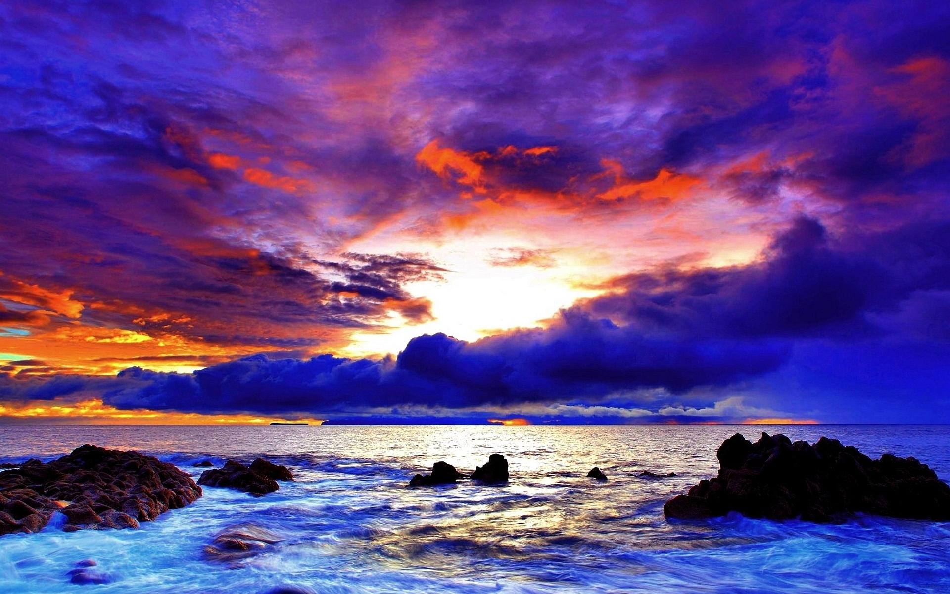 Purple red sunset coast
