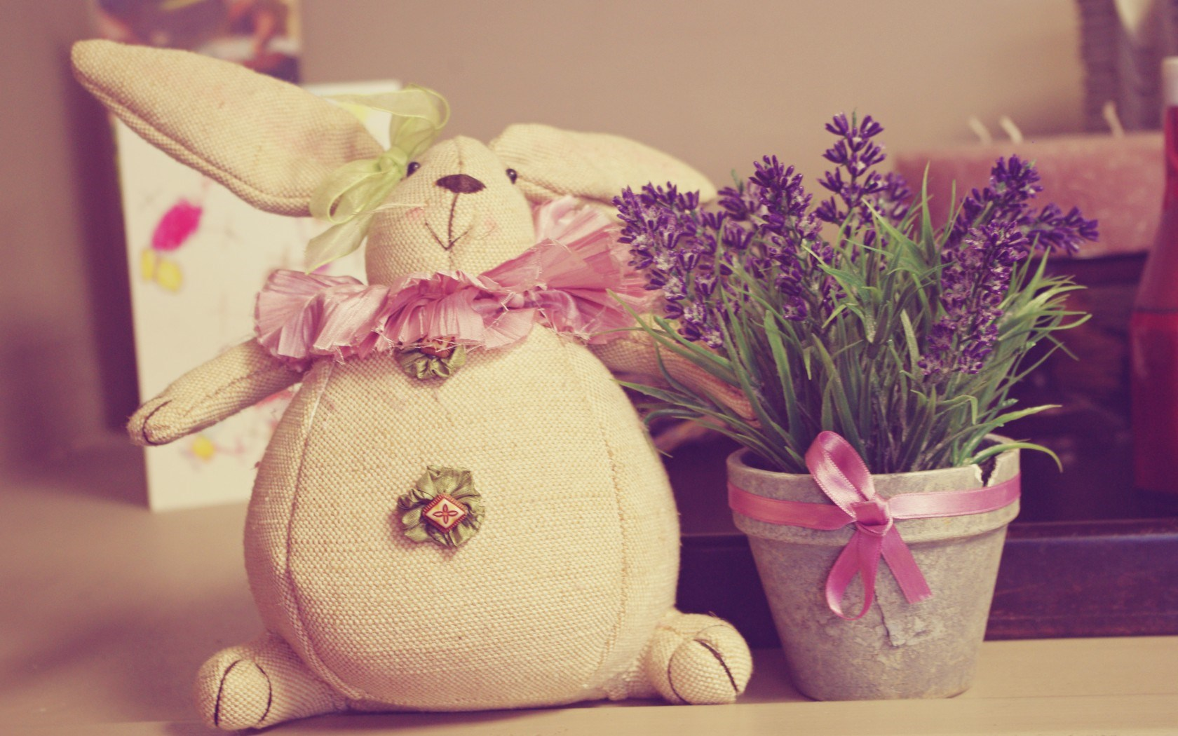 Rabbit Toy Bow Pot Flowers