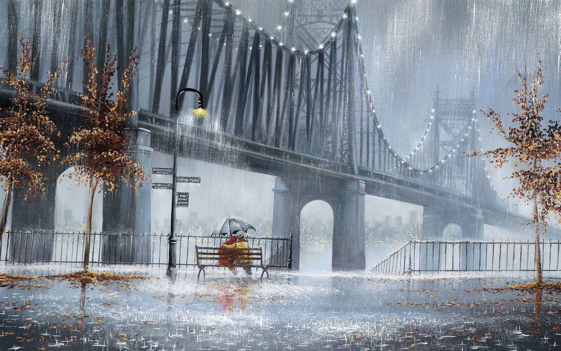 Rain couple bridge