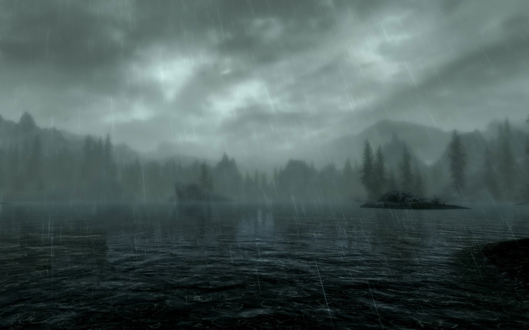 Free Wallpapers Skyrim Lake by Rain Wallpaper 1680x1050px