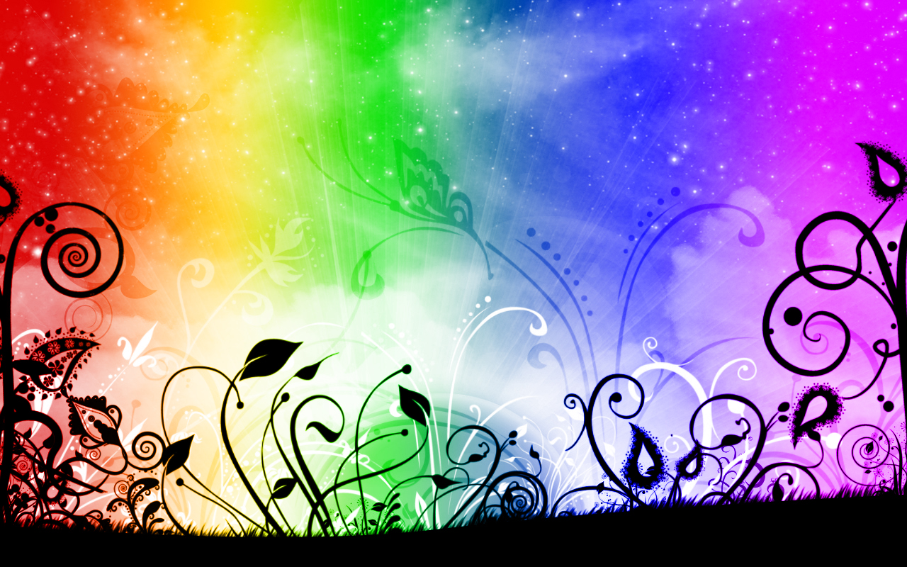 Rainbow flowers wallpaper 1280x800 66622 for Pretty wallpaper for walls