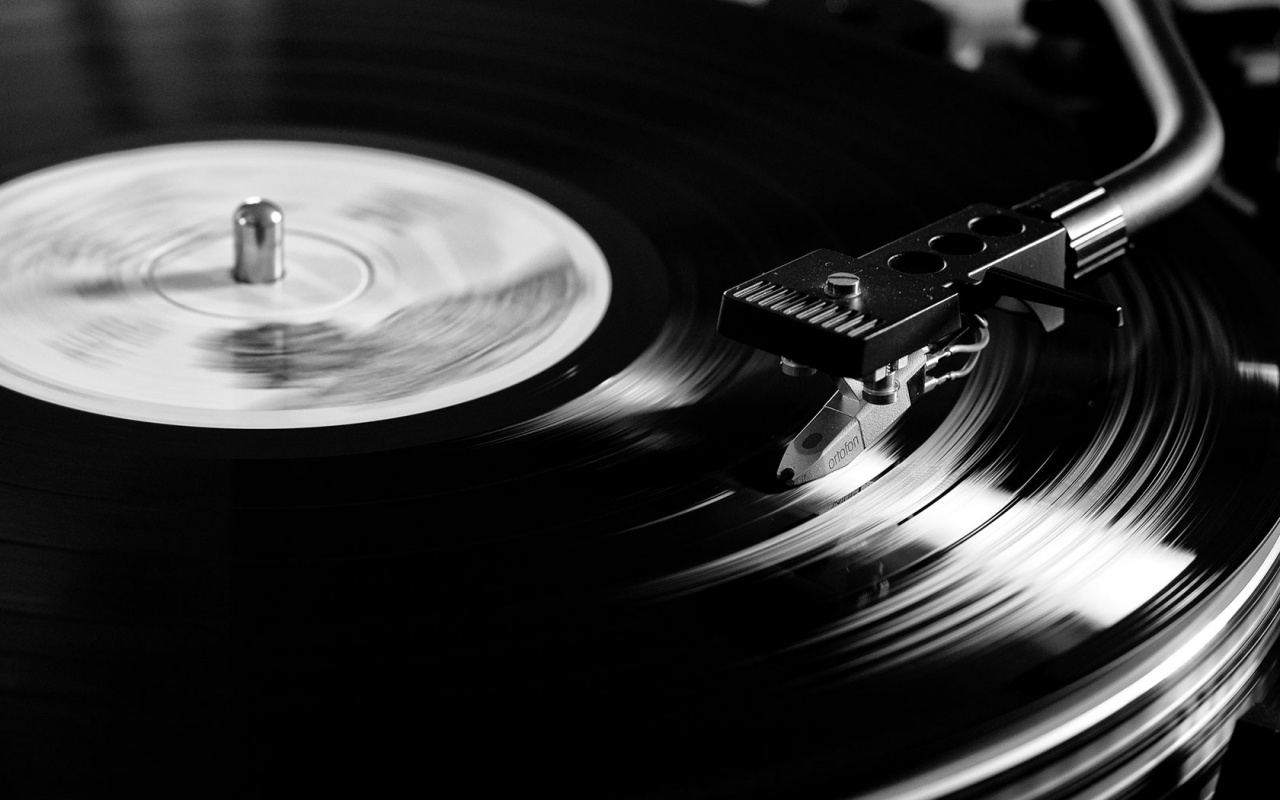 For The Record 1280x800px ::::For The Record, black vinyl on a player spinning and reading the classic music artistic bw wallpaper