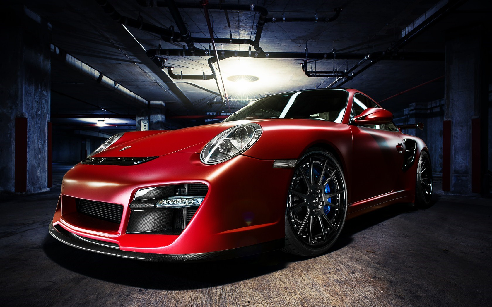 Porsche 911 Turbo Red Car Garage Photo