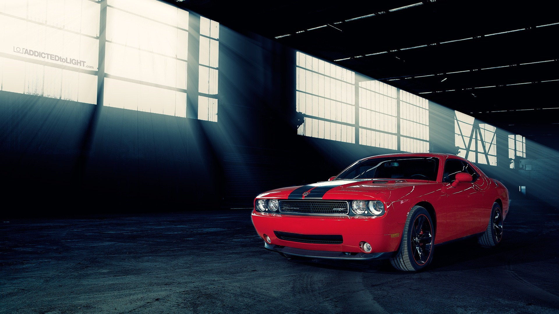 Red Dodge Challenger SRT Warehouse