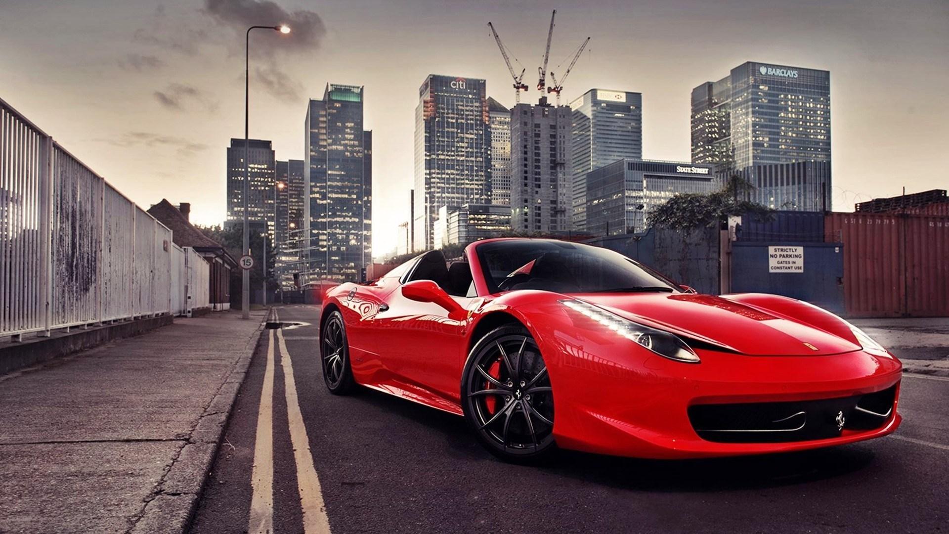 Red Ferrari 458 Italia Street City Photo