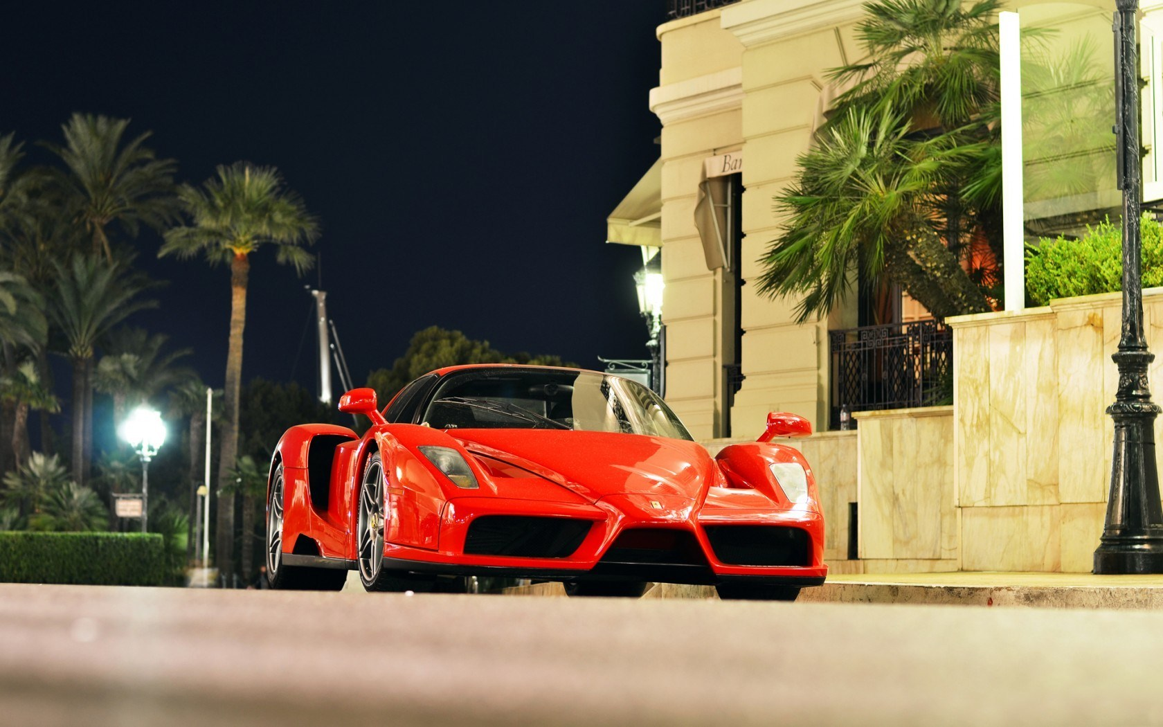 Red Ferrari Enzo City Monaco Night