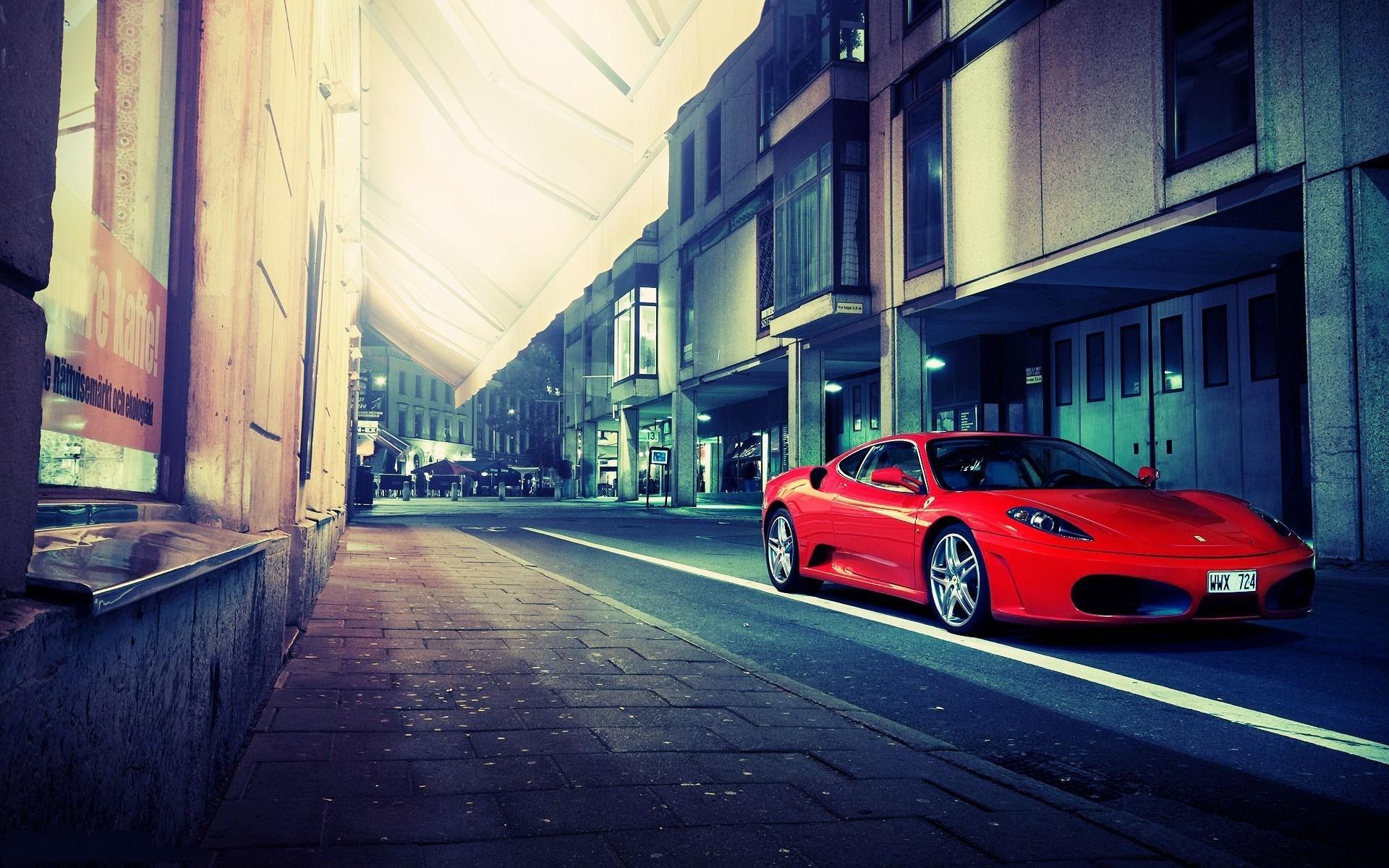 Red Ferrari F430 Street Buildings Photo