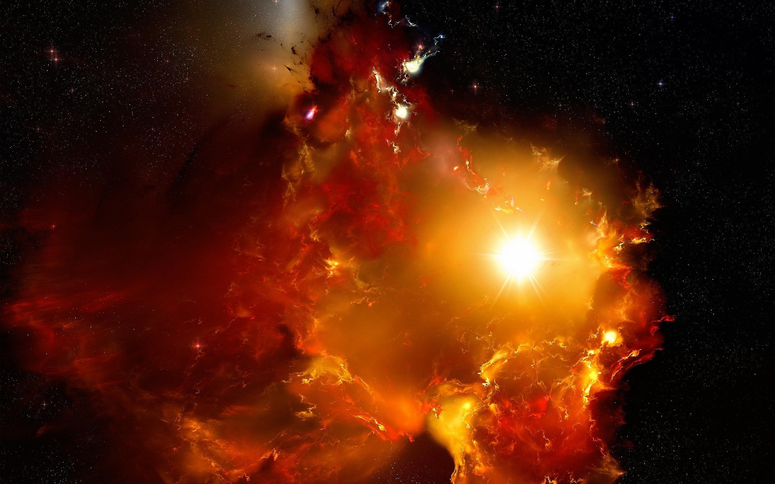 Red Nebula Clouds
