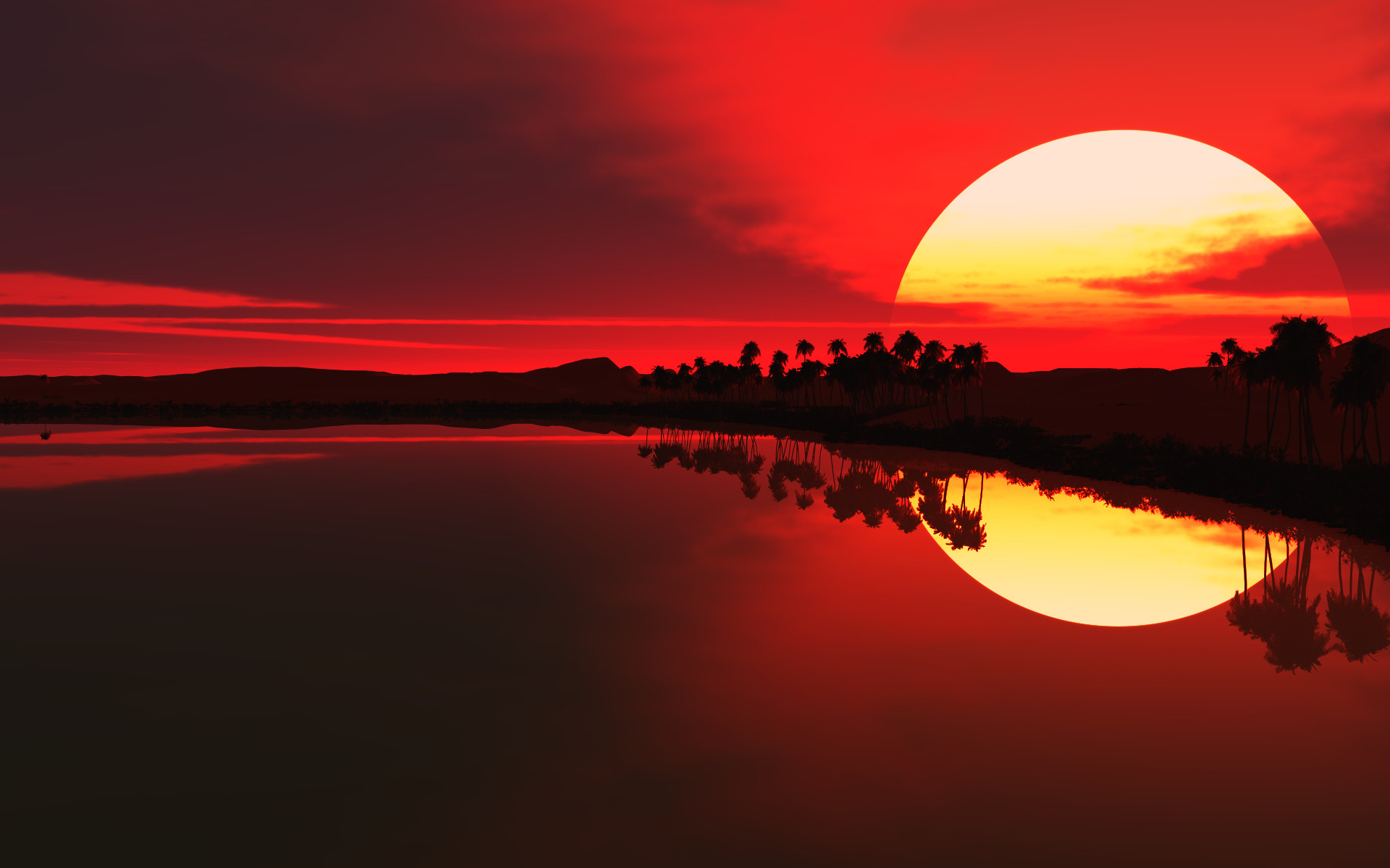 Red sunset artwork