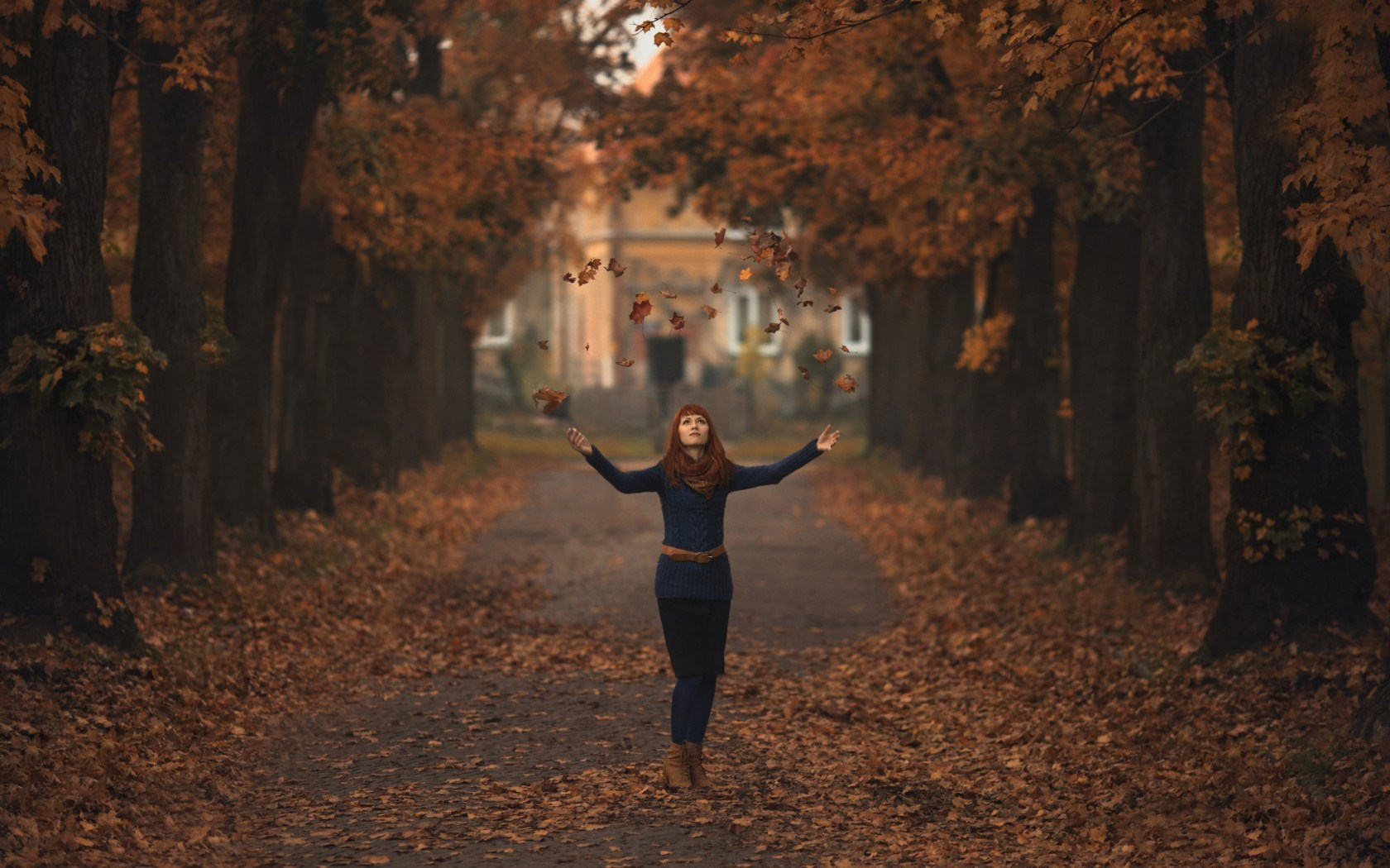 Redhead Autumn Leaves Mood