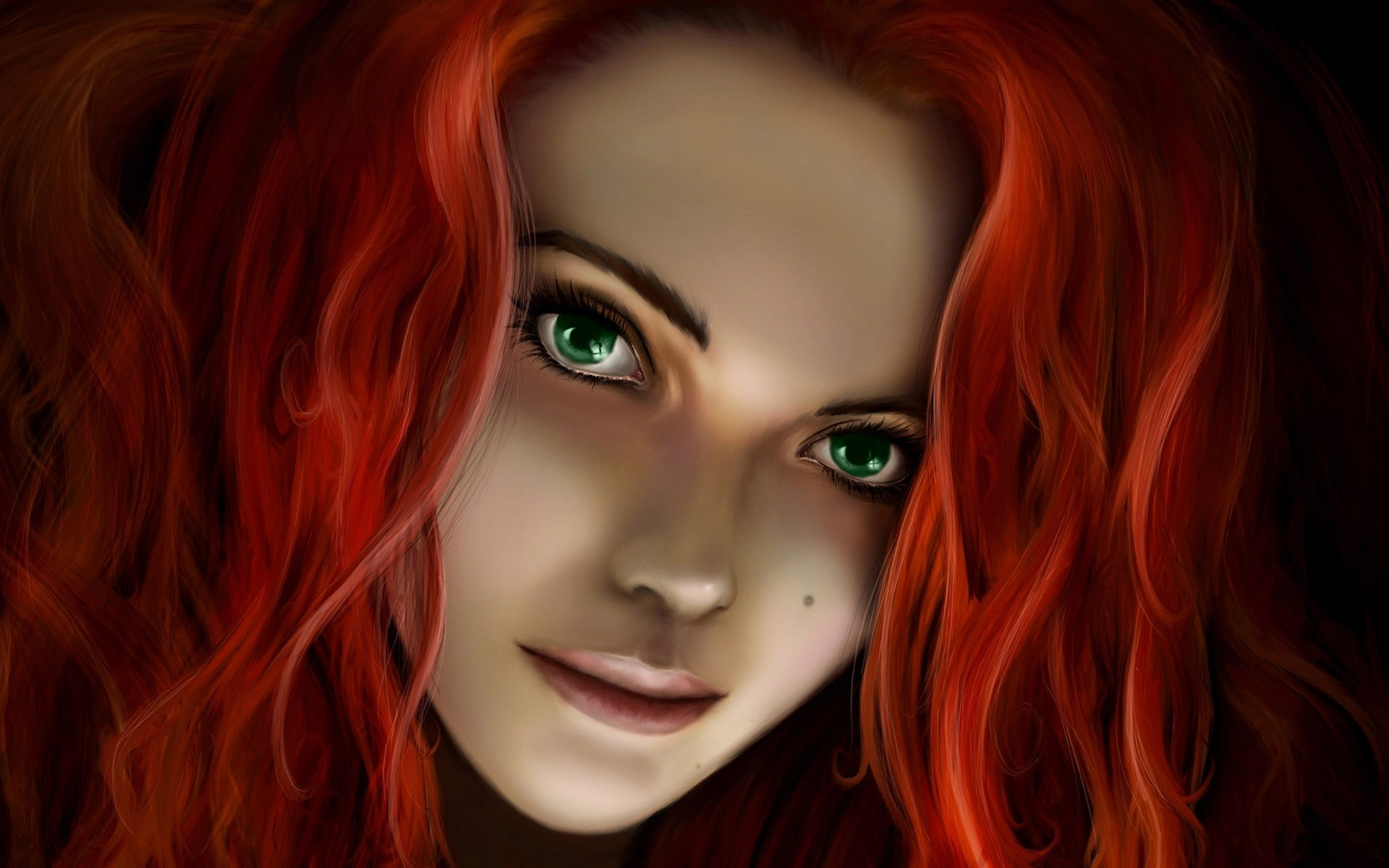 Redhead Girl Fantasy Artwork HD Wallpaper