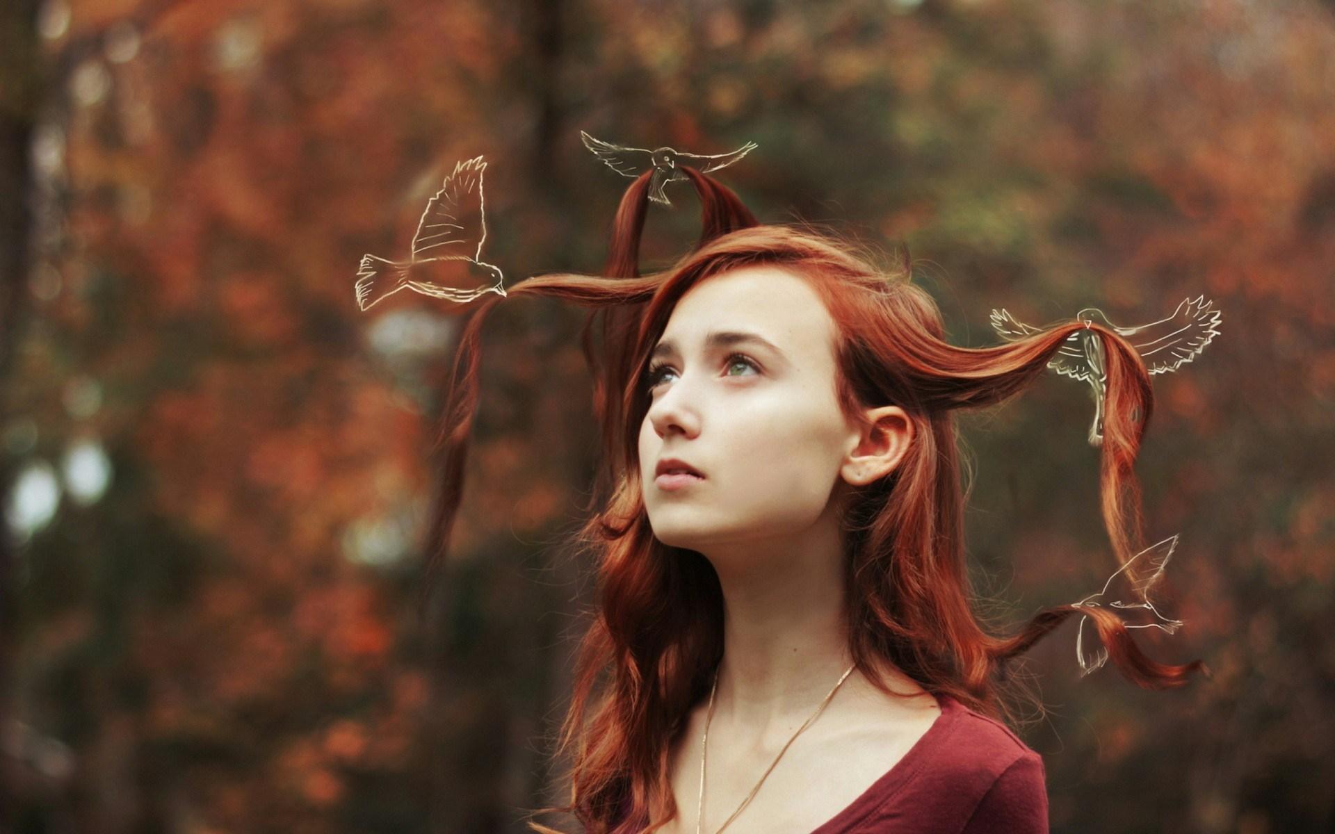 Redhead Girl Birds Art Photo