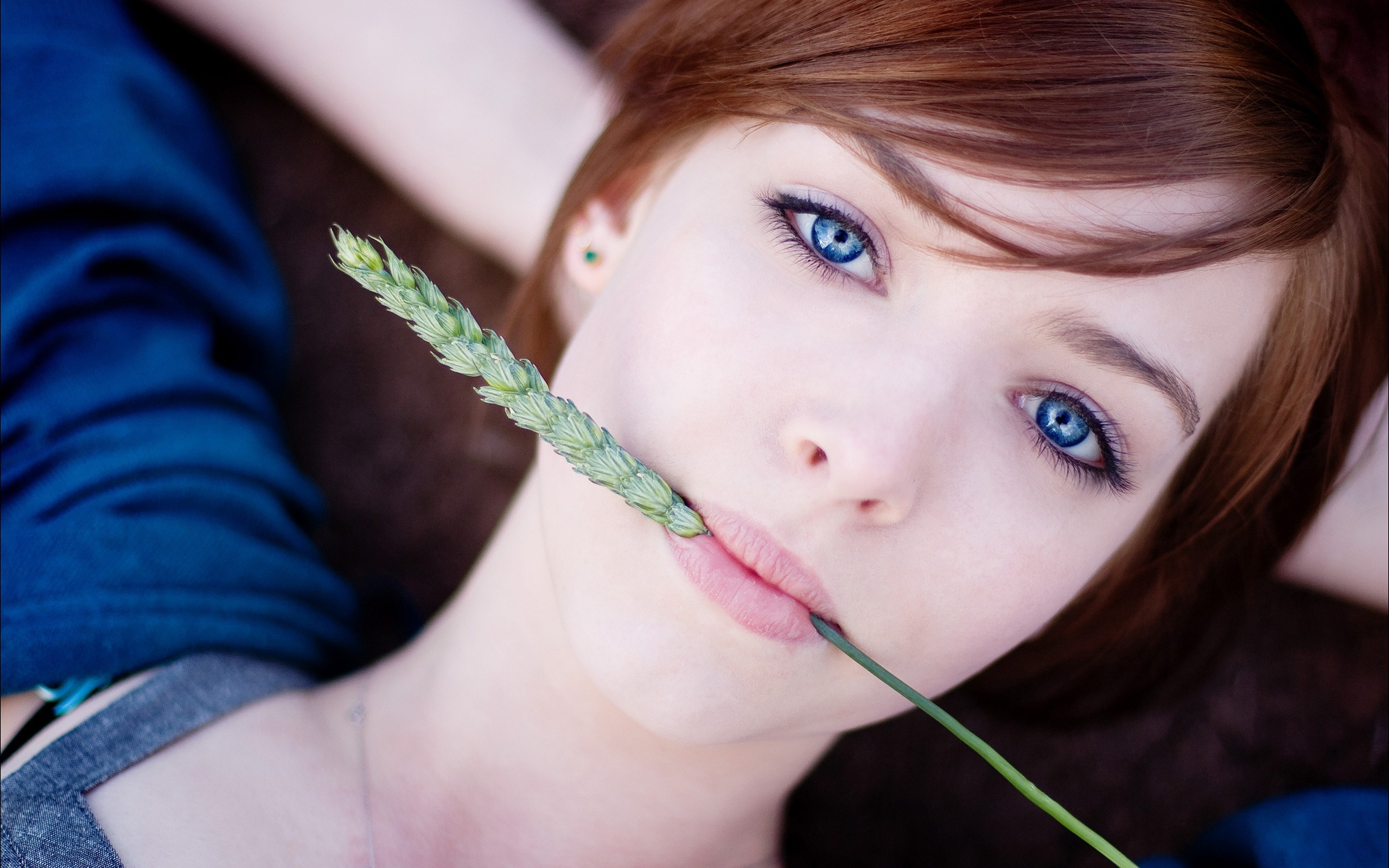 Redhead Blue Eyes Girl Wheat