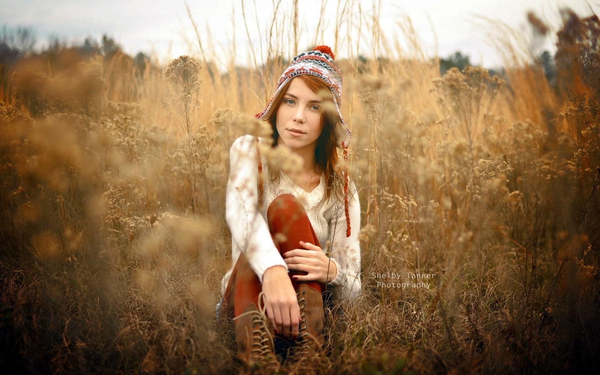 Redhead Girl Field Fashion