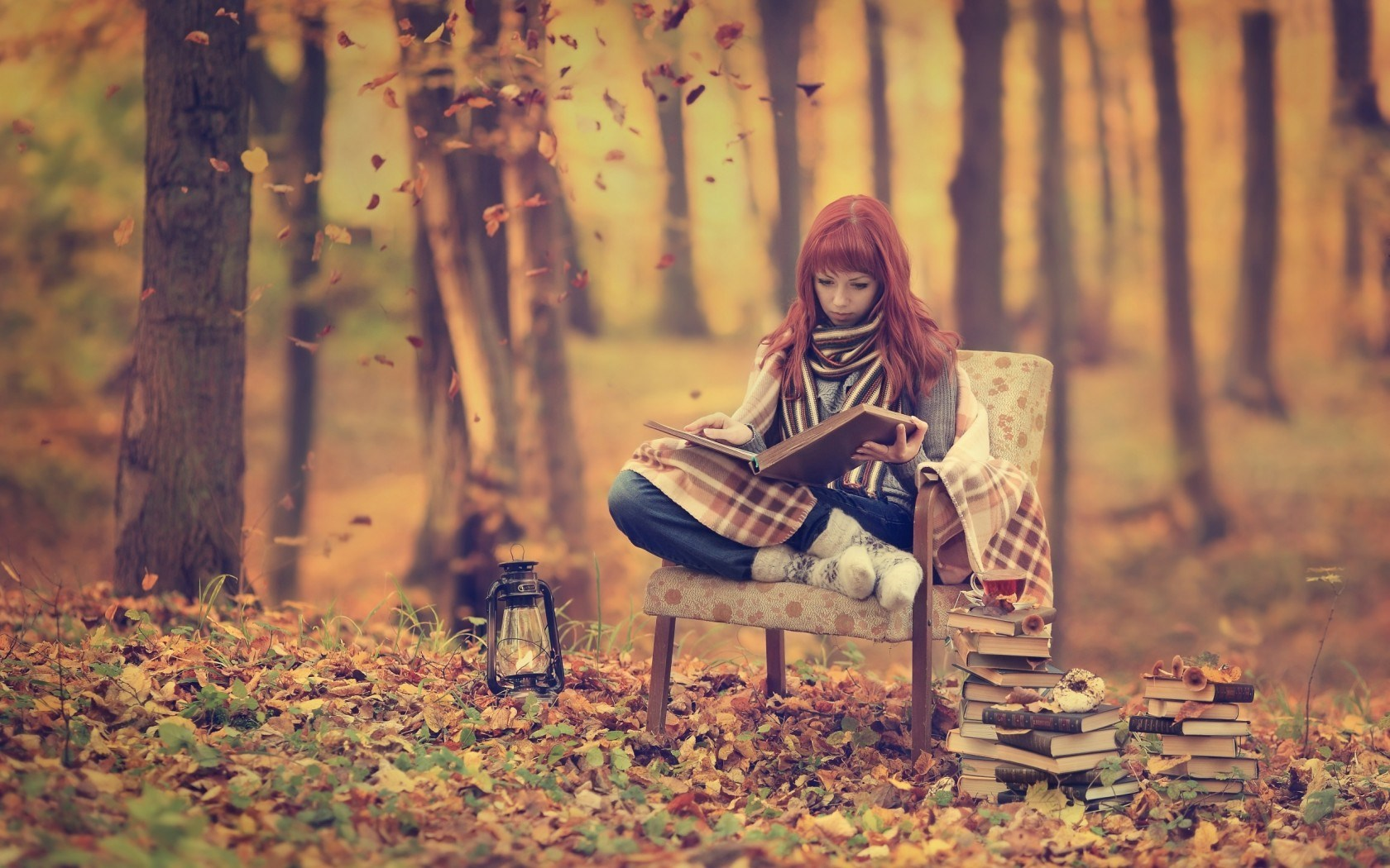 Redhead Girl Forest Autumn Books Mood