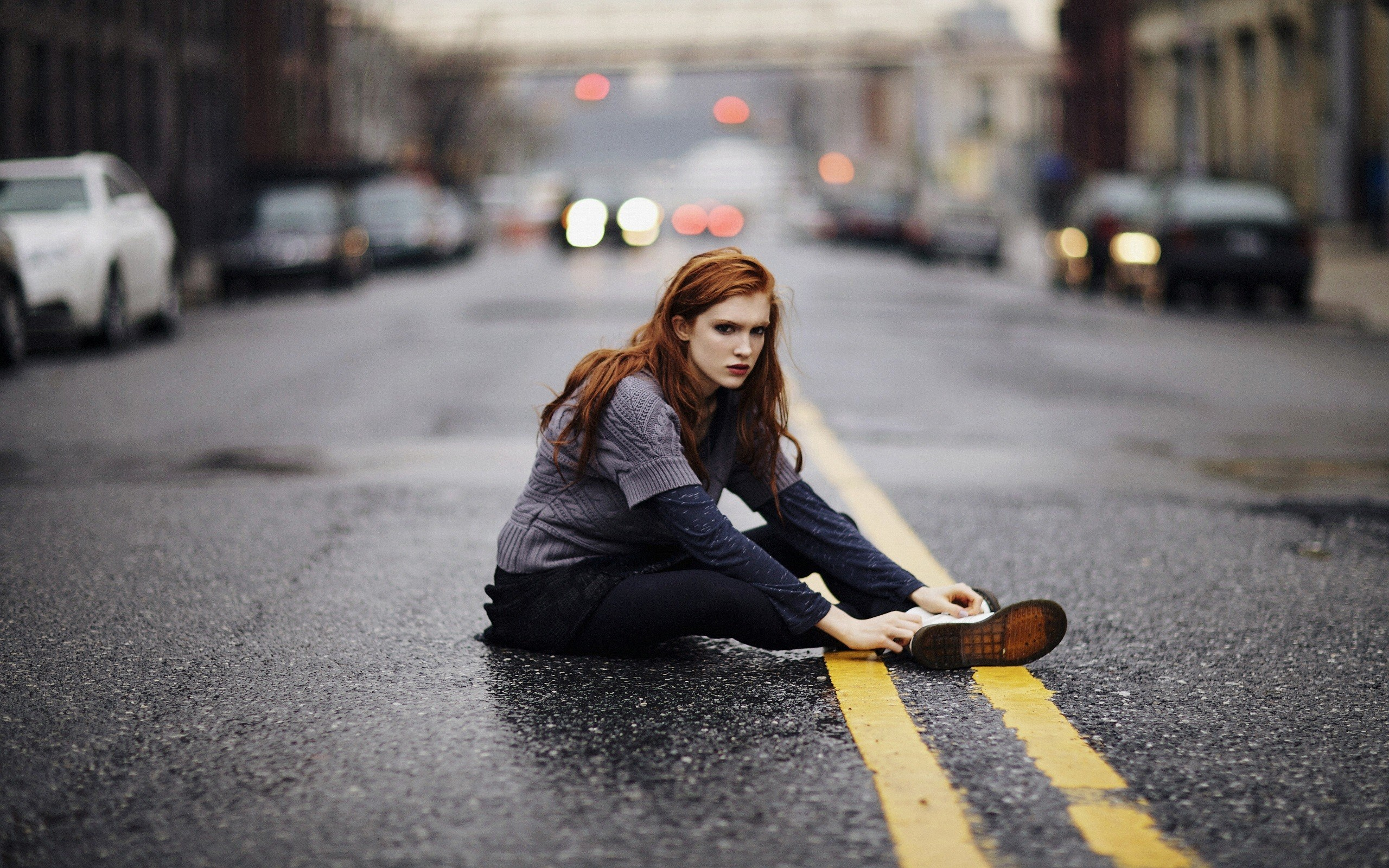 Redhead Girl Street City Fashion