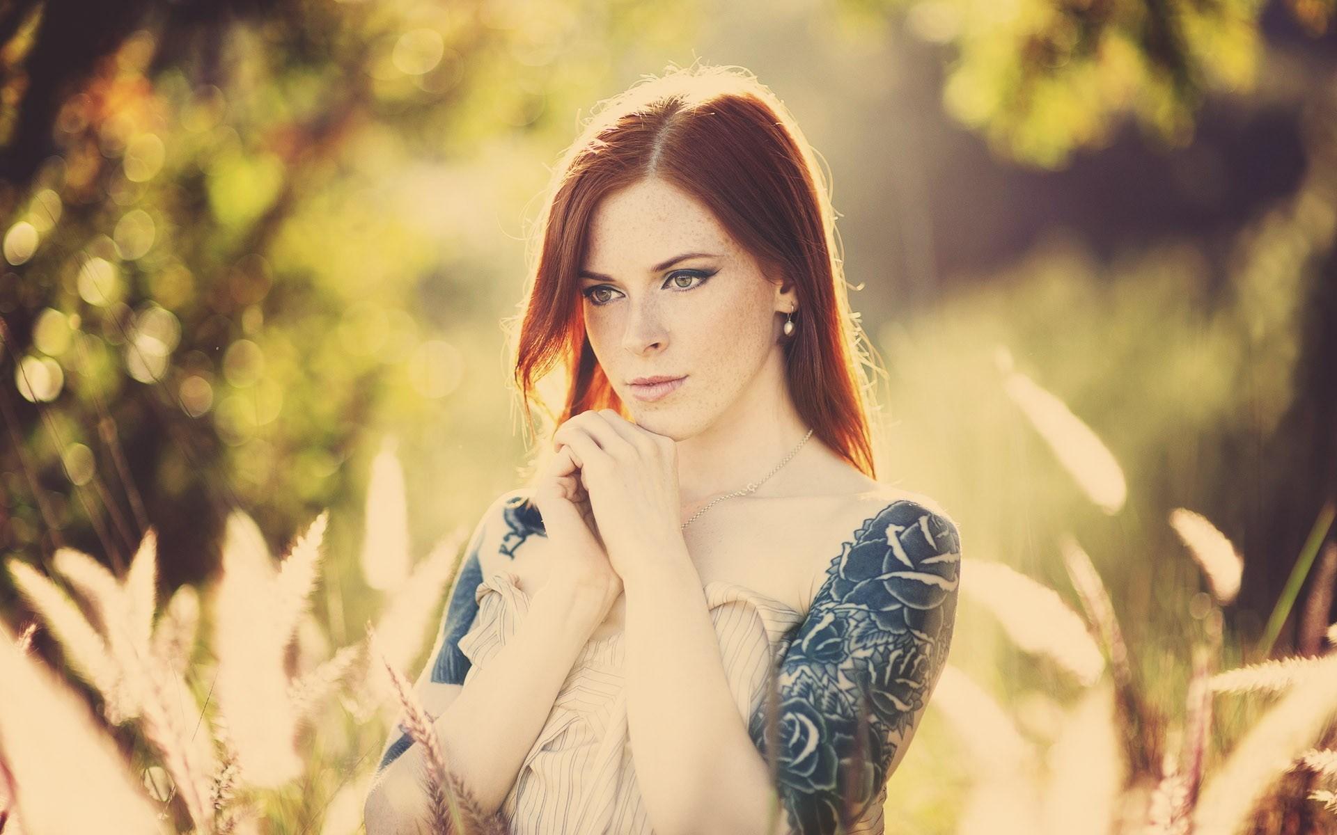 Redhead Girl Tattoos Freckles Photo