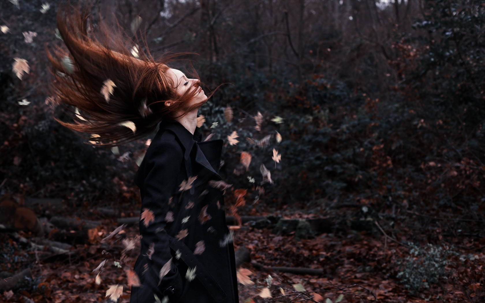 Redhead Girl Wind Leaves Autumn