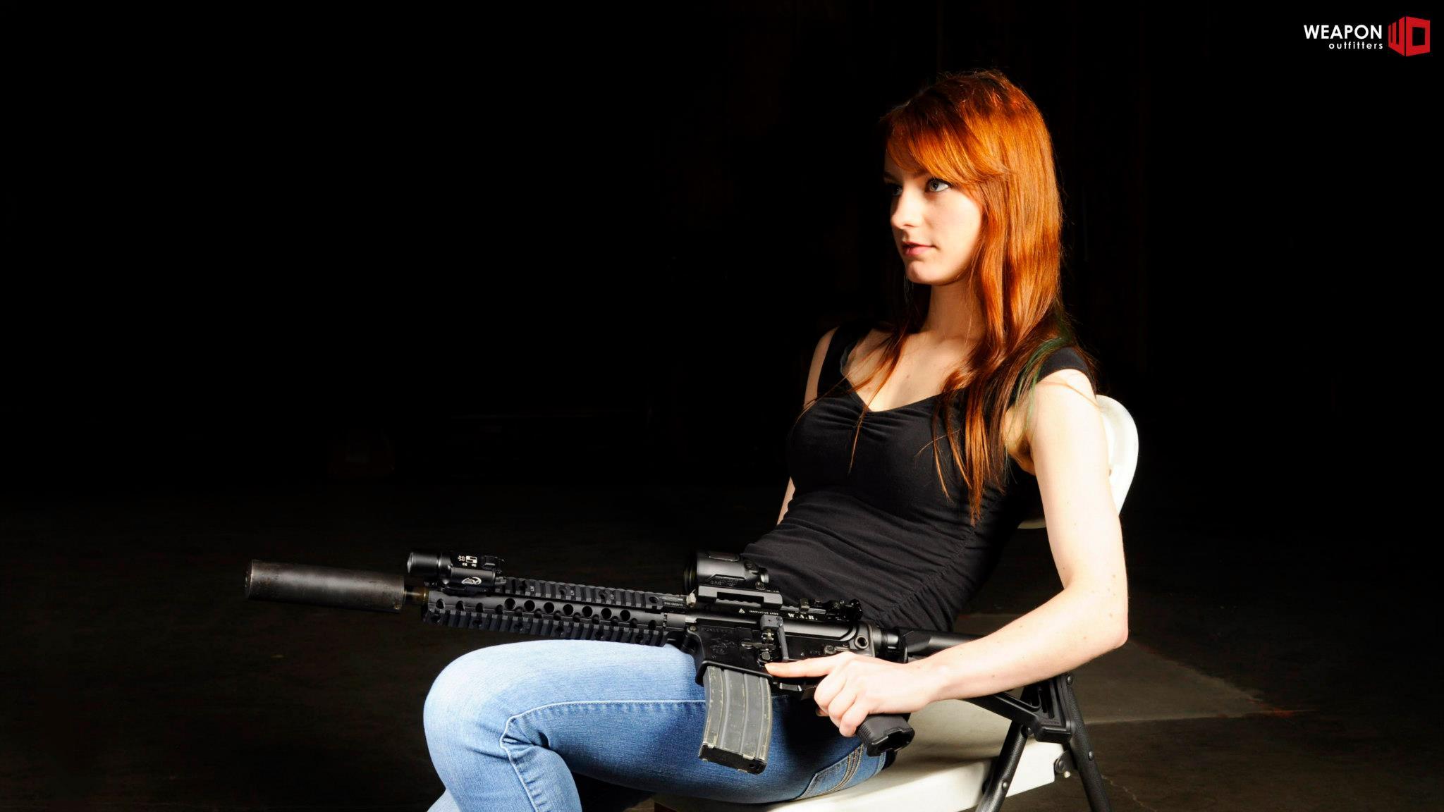 Redhead with gun