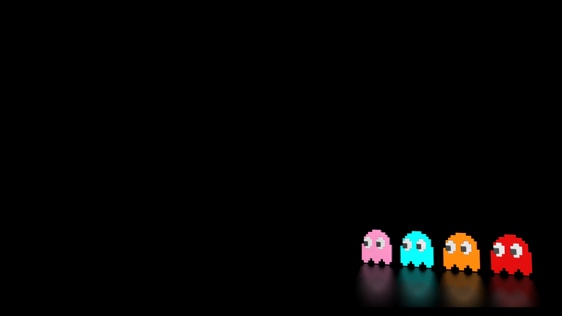 Reflective Wallpaper Reflective pacman ghosts