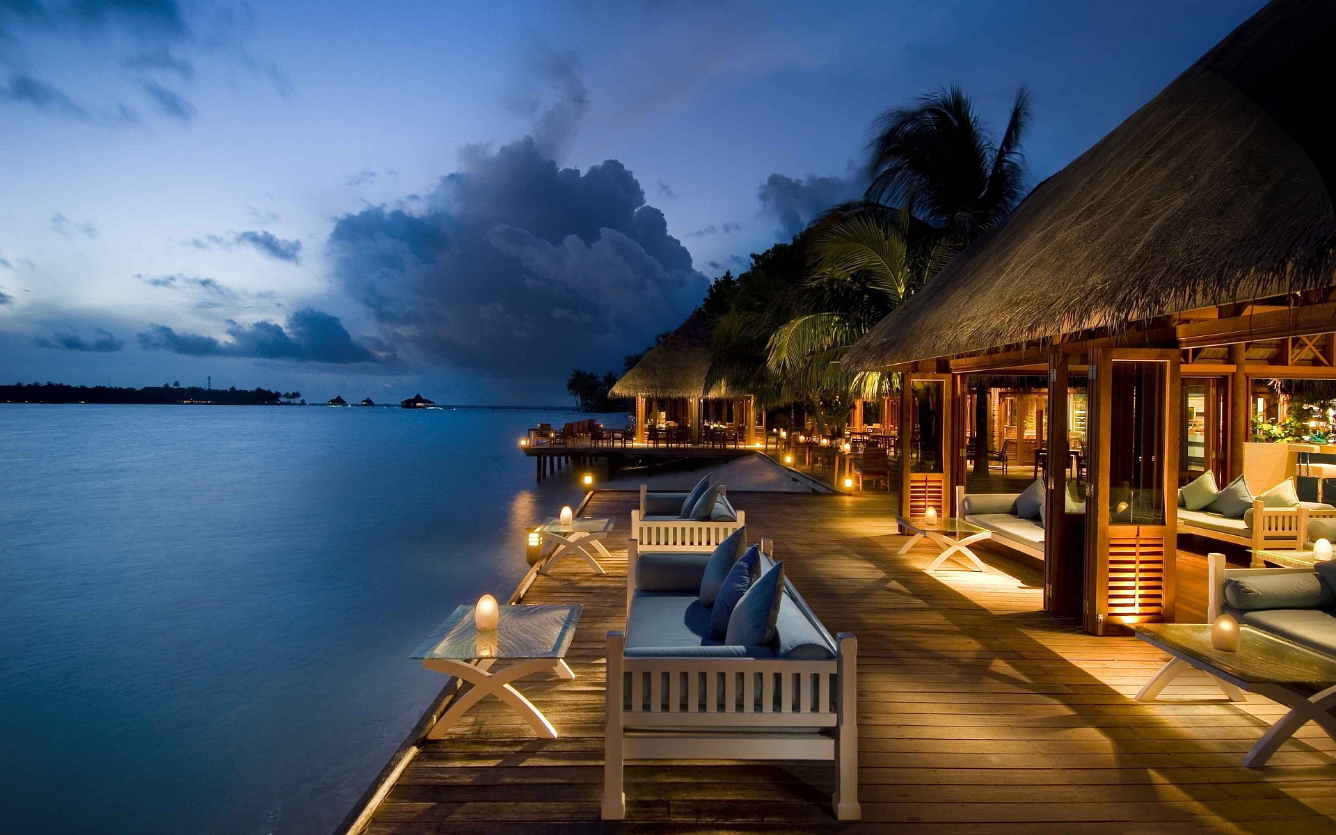 Relaxing resort evening