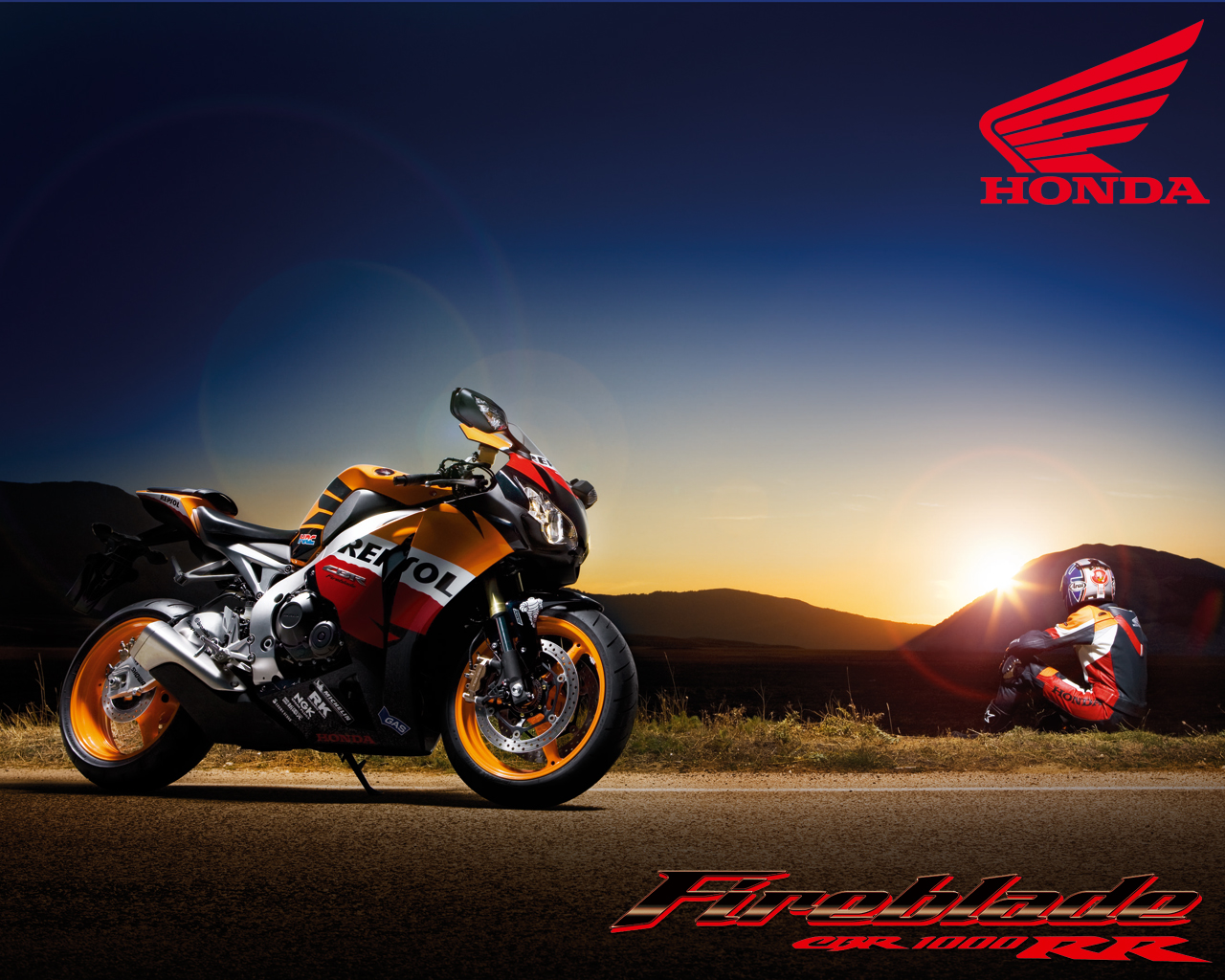 Repsol honda cbr motogp on sunset in montain wallpaper honda cbr | Ideias para a casa | Pinterest