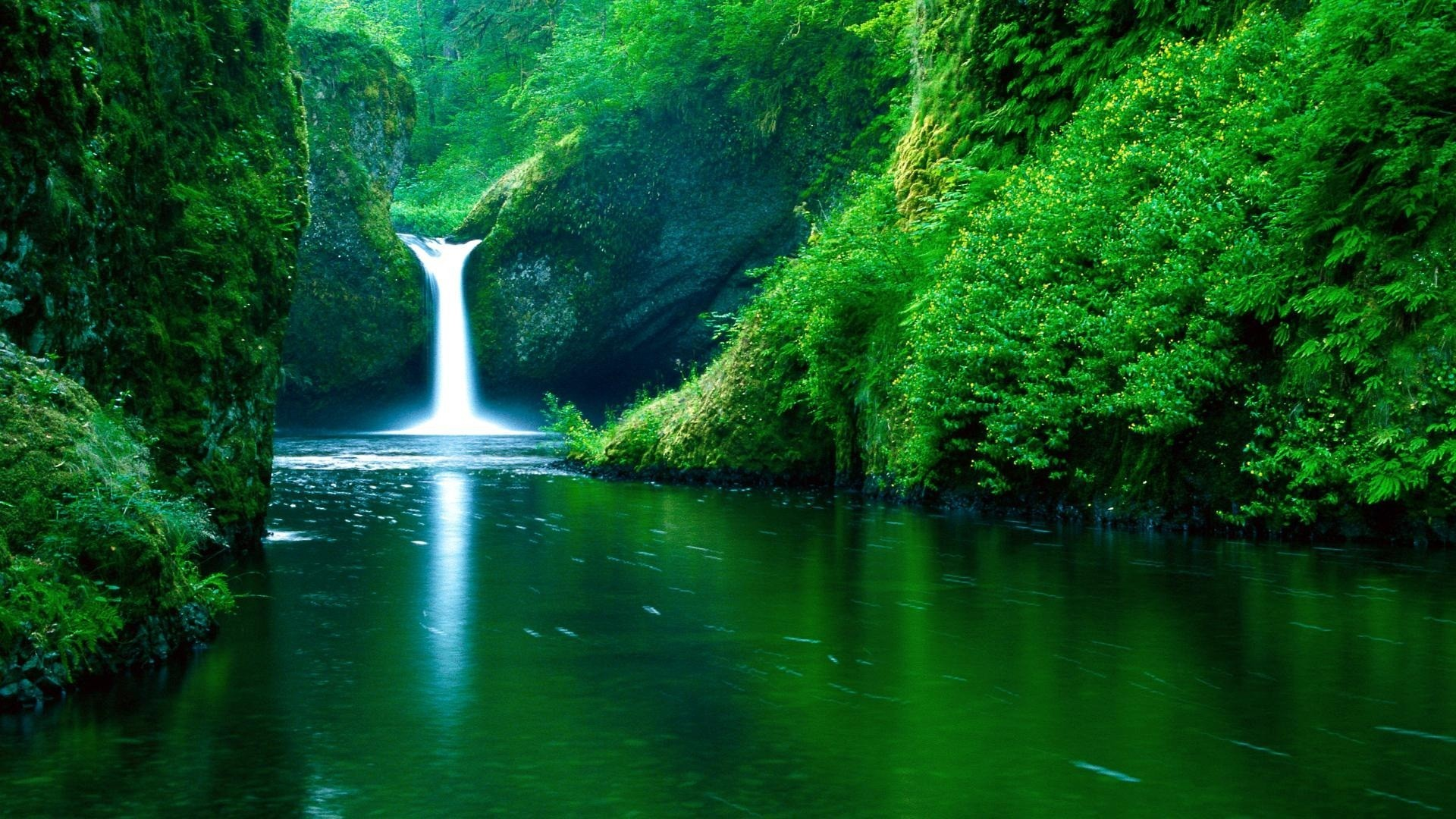 waterfall, green, river, wallpaper
