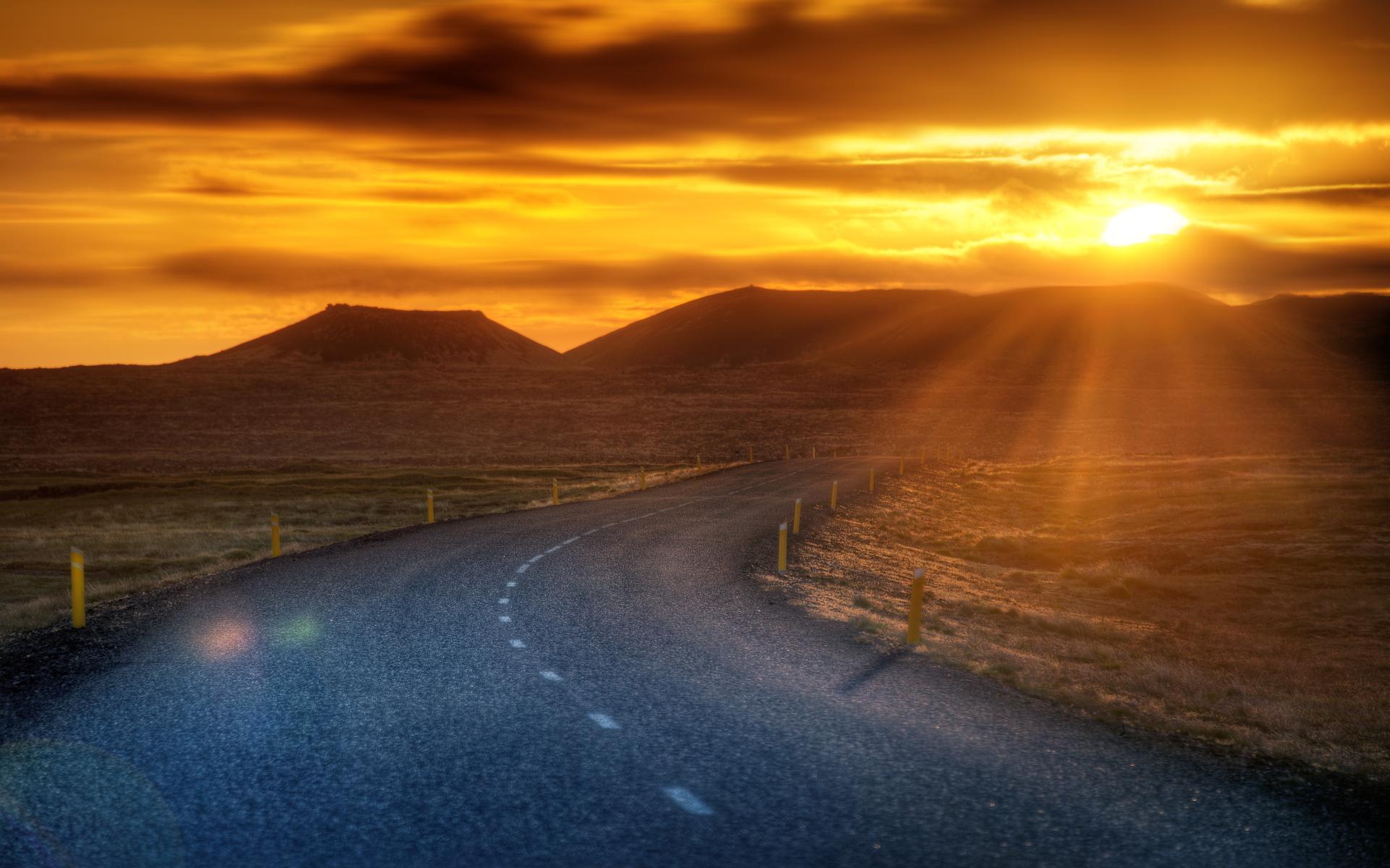 Sunset road landscape