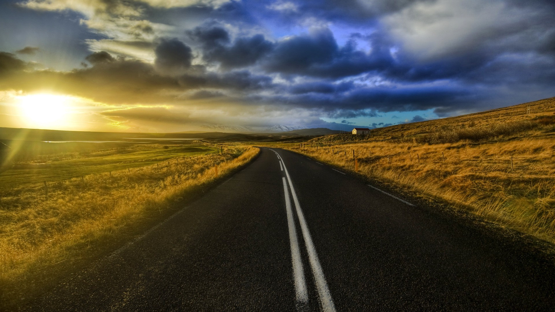 Road At Sunset Wallpaper