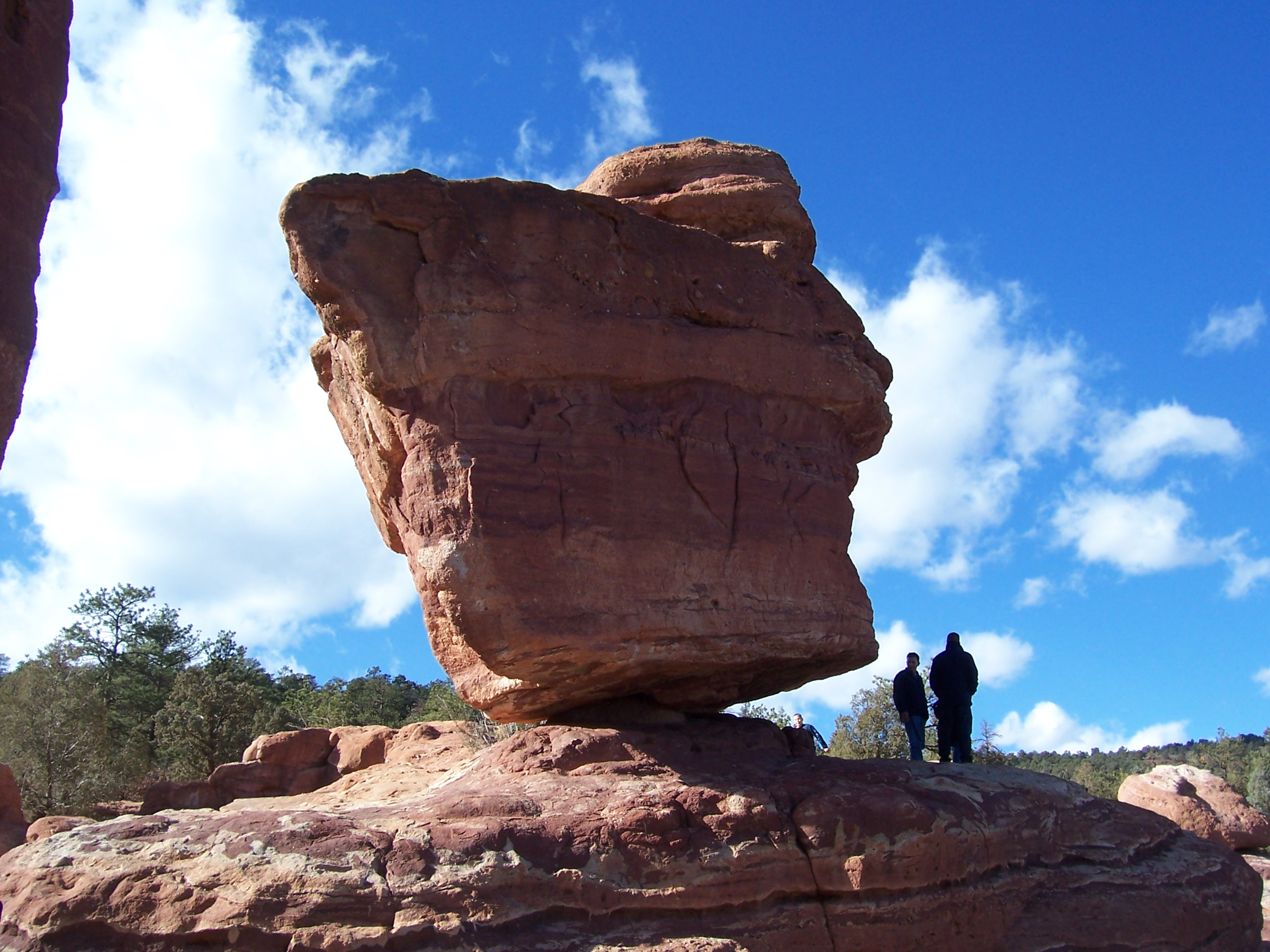 Balanced Rock stands in the Garden of the Gods park in Colorado Springs